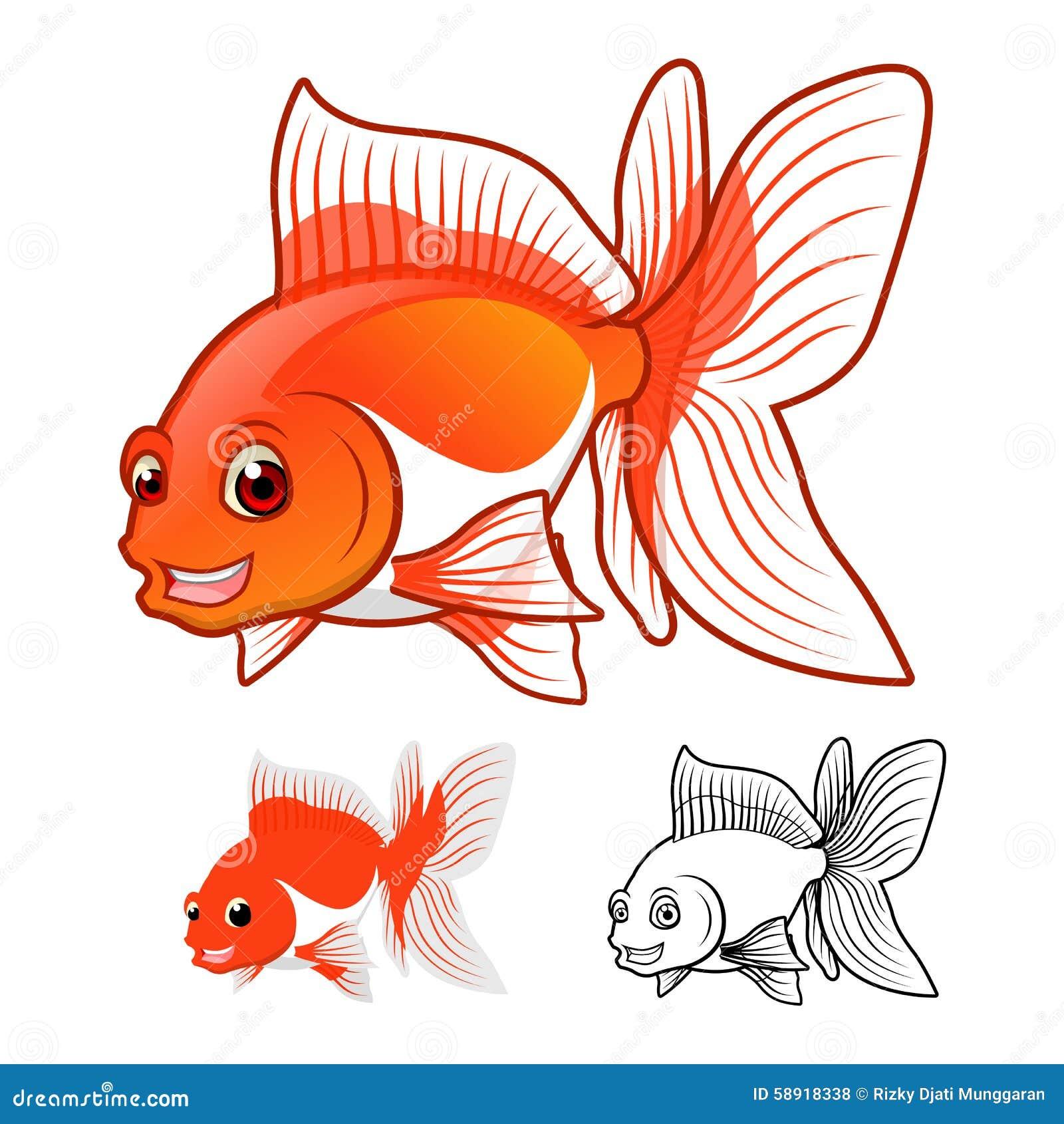 Le personnage de dessin animé de haute qualité de poisson rouge de rose des vents incluent la conception et la ligne plates Art V