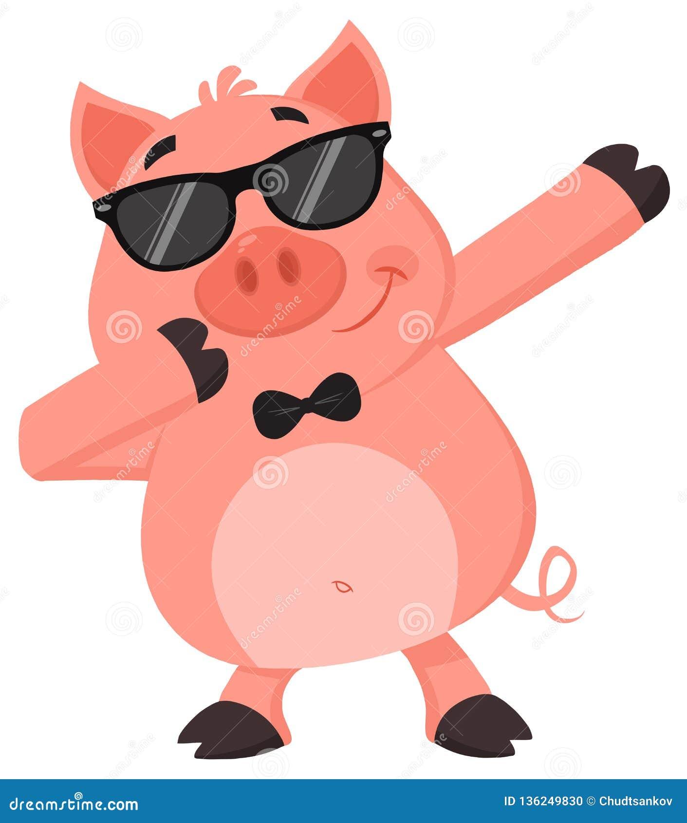 Le Personnage De Dessin Anime Drole De Porc Avec Des Lunettes De Soleil Tamponnent Tamponner Illustration Stock Illustration Du Tamponnent Drole 136249830