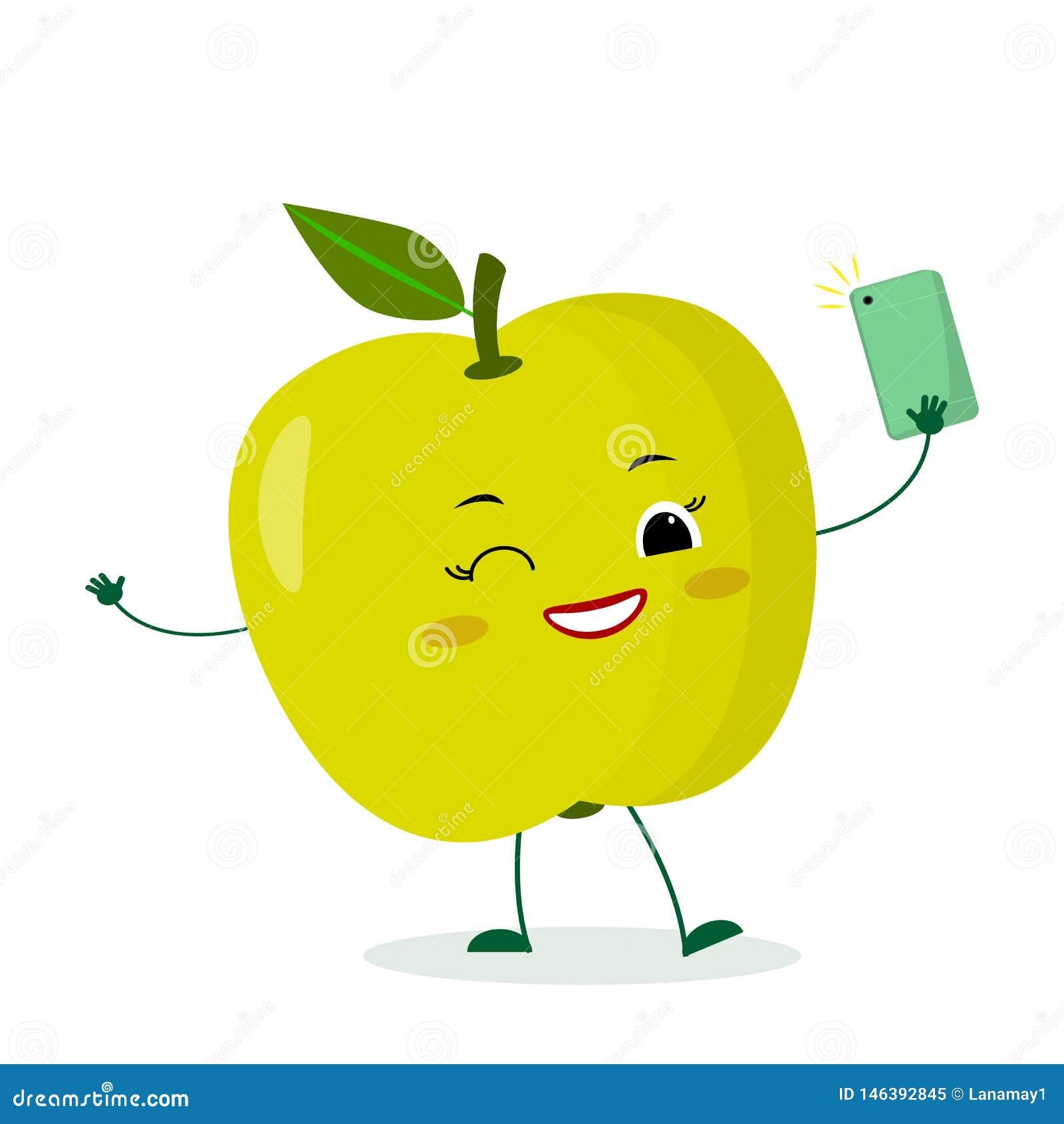 Le Personnage De Dessin Animé Vert Mignon De Fruit De Pomme