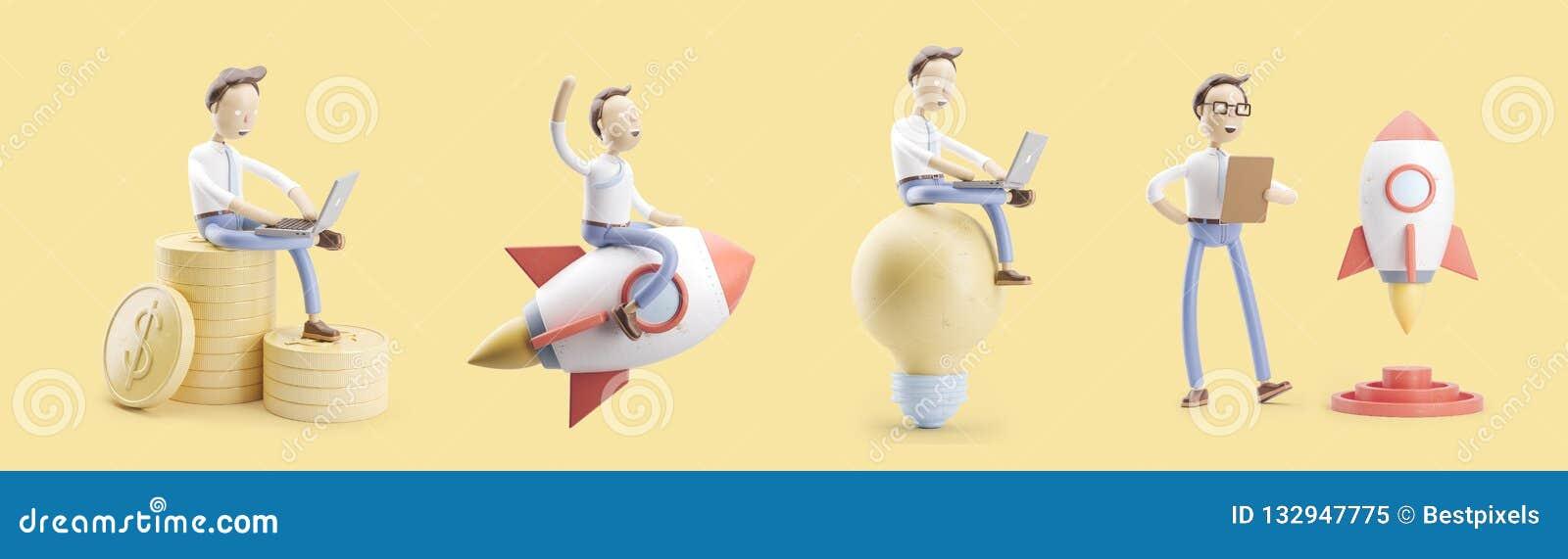Le personnage de dessin animé vole sur une fusée dans l espace Ensemble d illustrations 3d concept de démarrage de la créativité