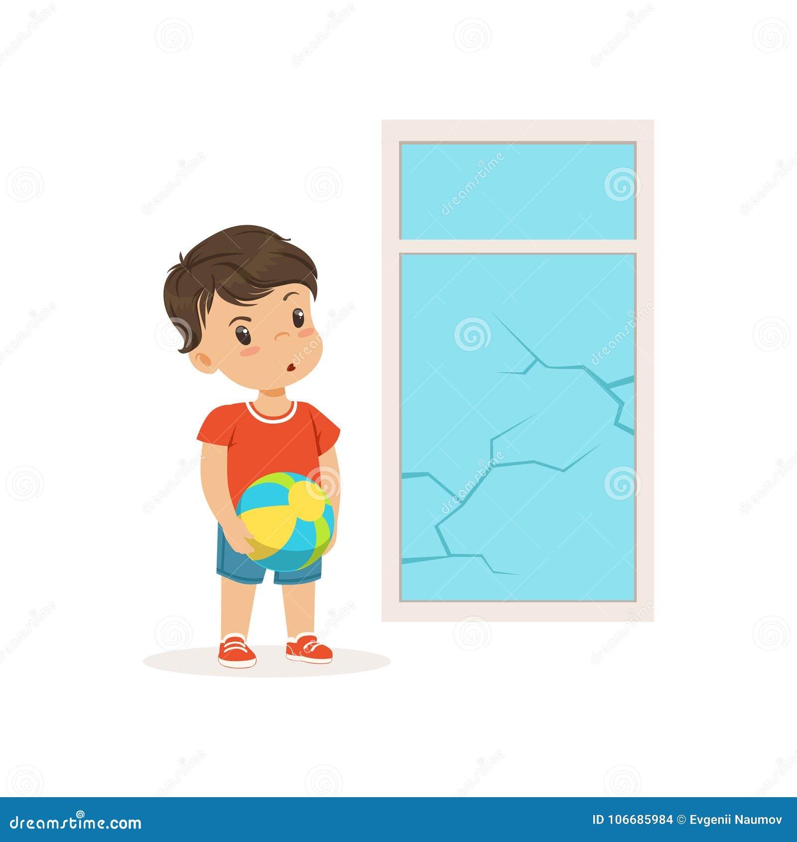 Le petit garçon mignon de despote s est brisé la fenêtre avec la boule, enfant gai de truand petit, mauvaise illustration de vect