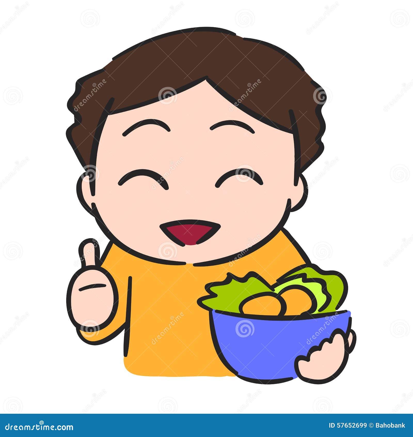 Le petit garçon mignon mange le légume, bouillon de vecteur