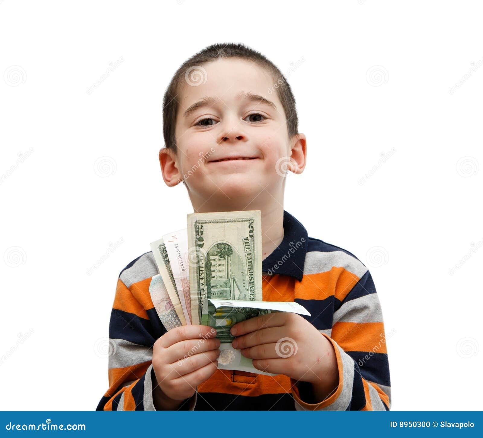 Le Petit Garçon Mignon Retient Des Billets De Banque Photo stock ... bdfd777650d2