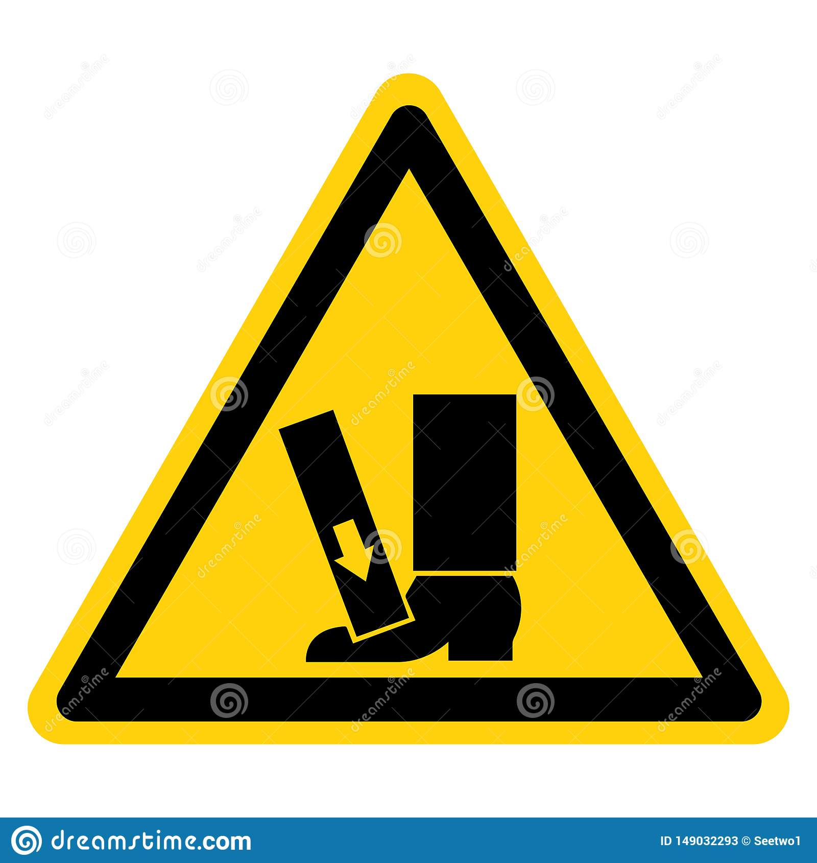 Le pied écrasent la force de l isolat ci-dessus de signe de symbole sur le fond blanc, illustration de vecteur