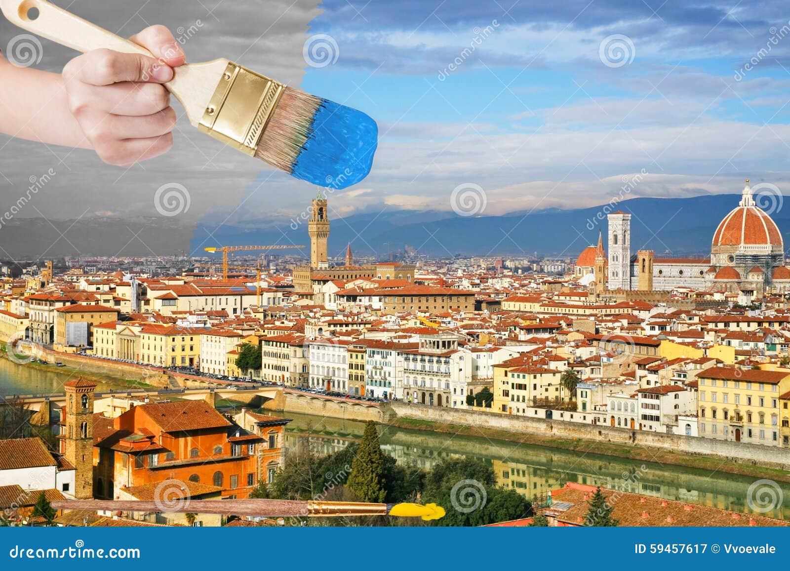 Le pinceau peint le ciel bleu au-dessus de la ville de Florence