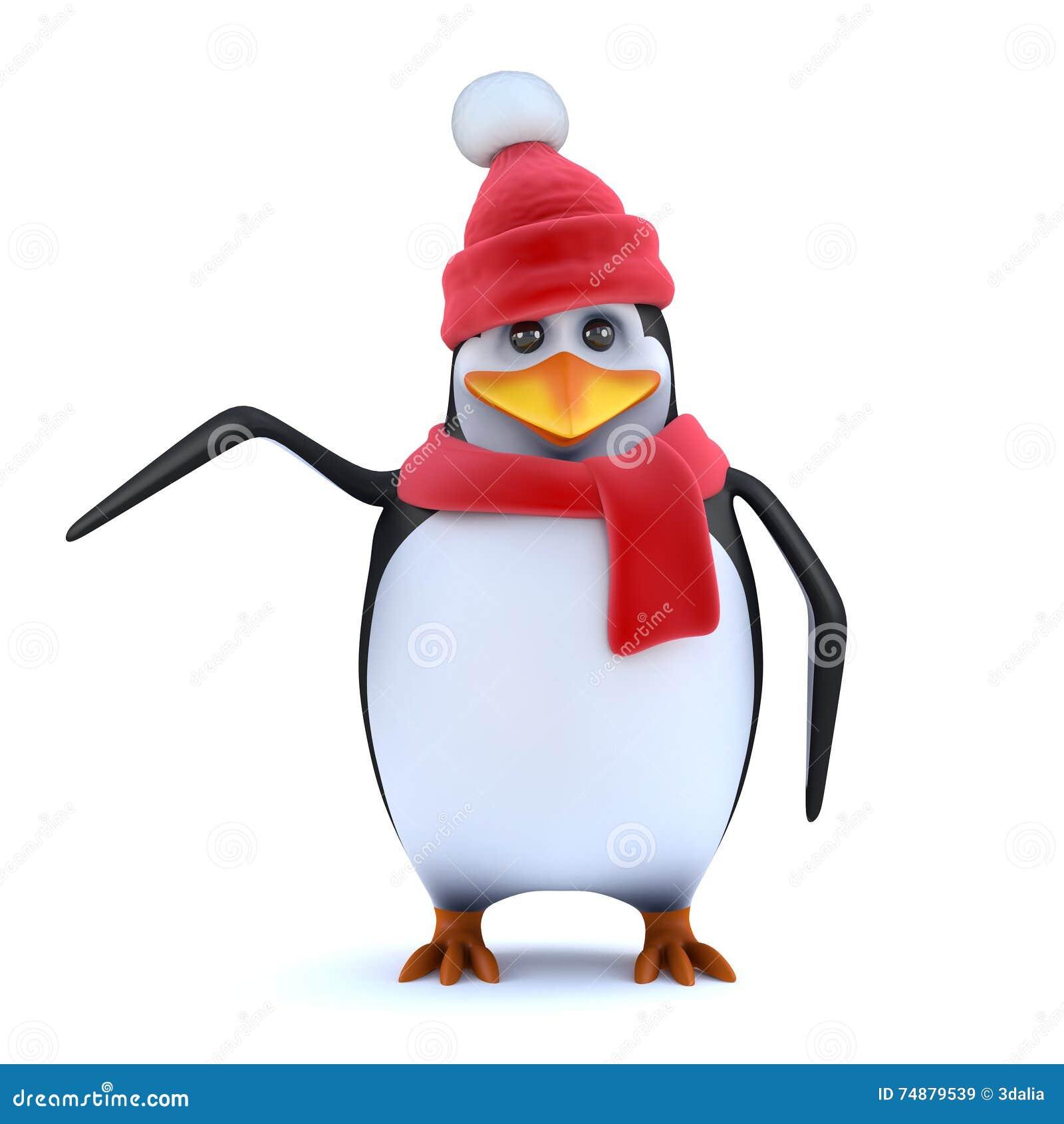 Le pingouin 3d hatted floconneux indique le côté
