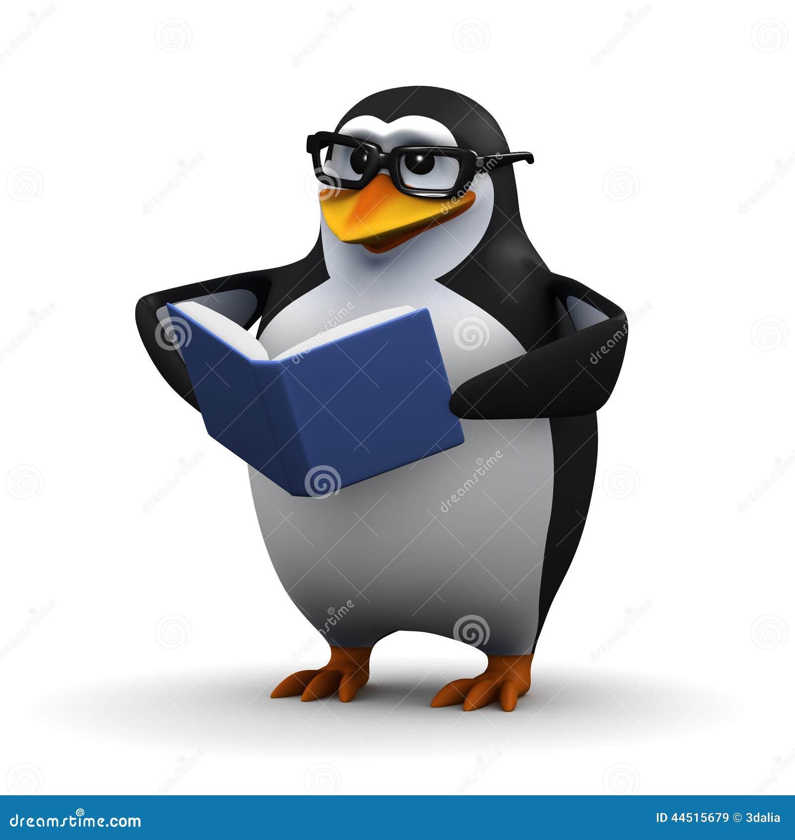 Le pingouin 3d lit un livre