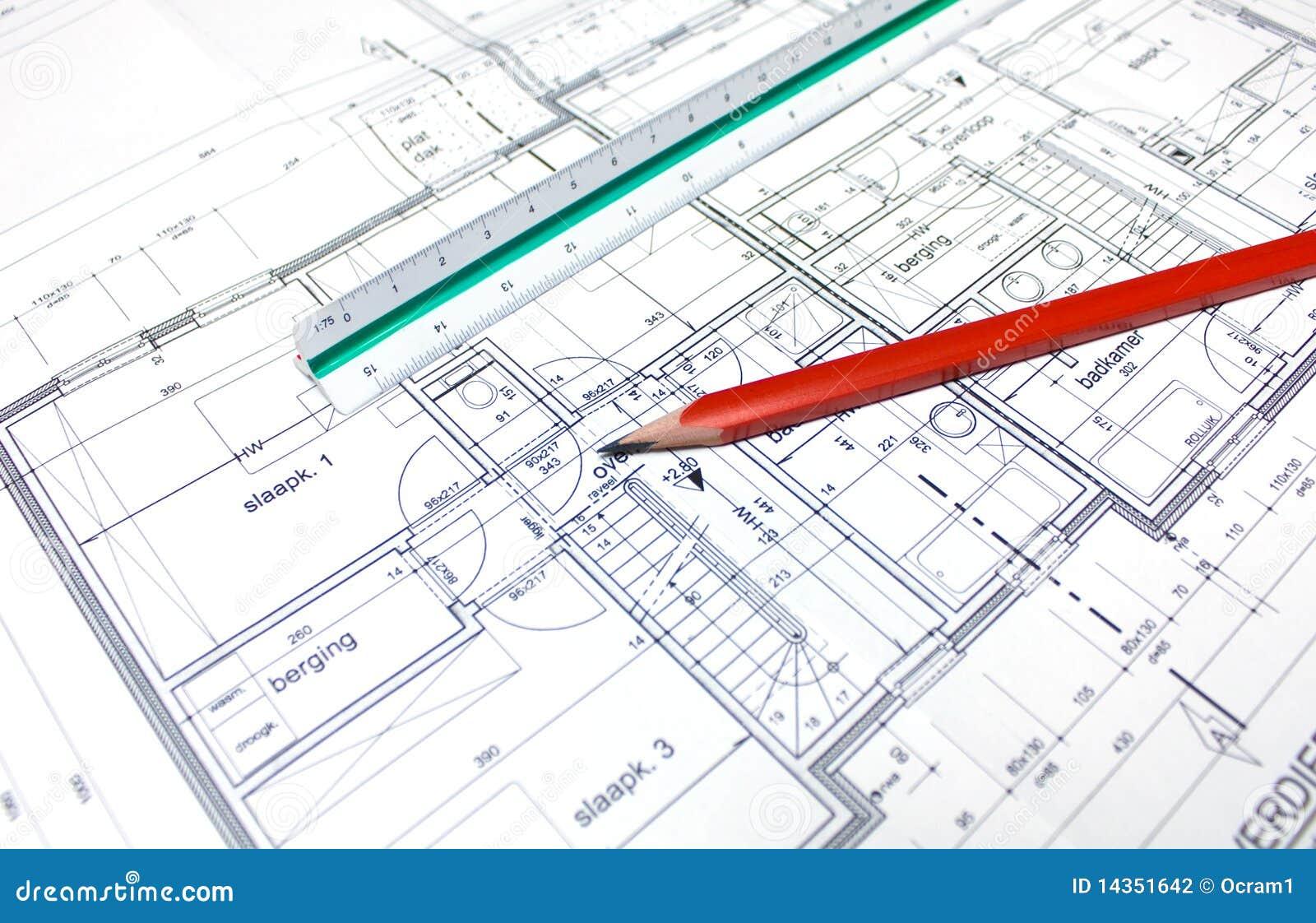 Le plan de l 39 architecte photographie stock image 14351642 for Plan architecte