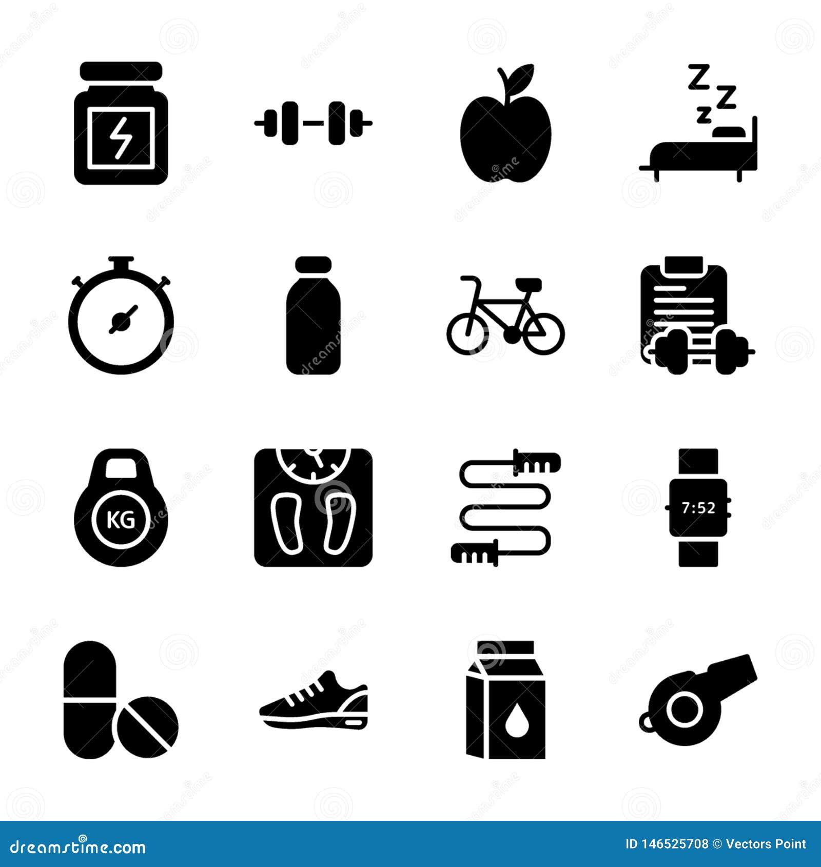 Le plan de régime, sports complètent, des icônes de nutrition emballent