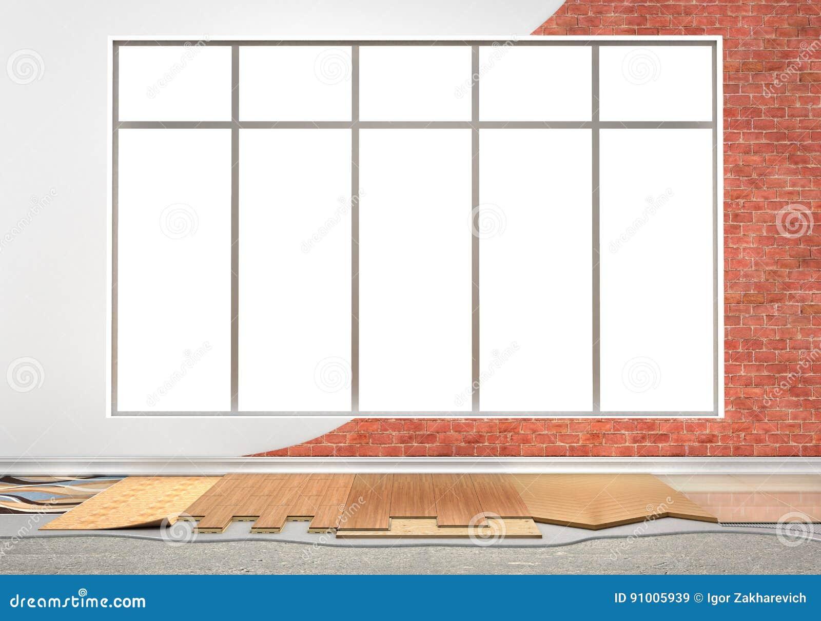 Le plancher dactylographie le revêtement Installation de plancher