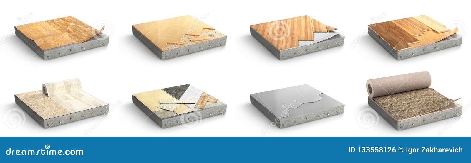 Le plancher dactylographie le revêtement Installation de plancher Placez des morceaux de dif