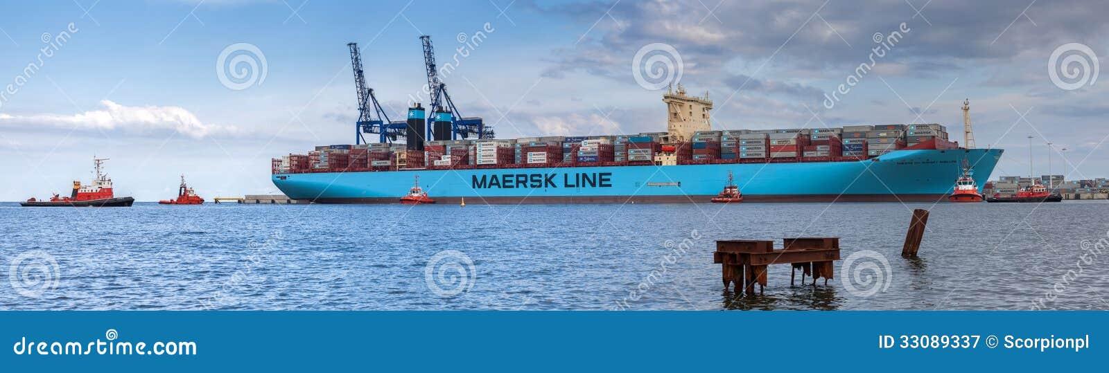 Le plus grand navire porte conteneurs dans le monde dans le port de danzig pologne - Plus grand porte conteneur du monde ...