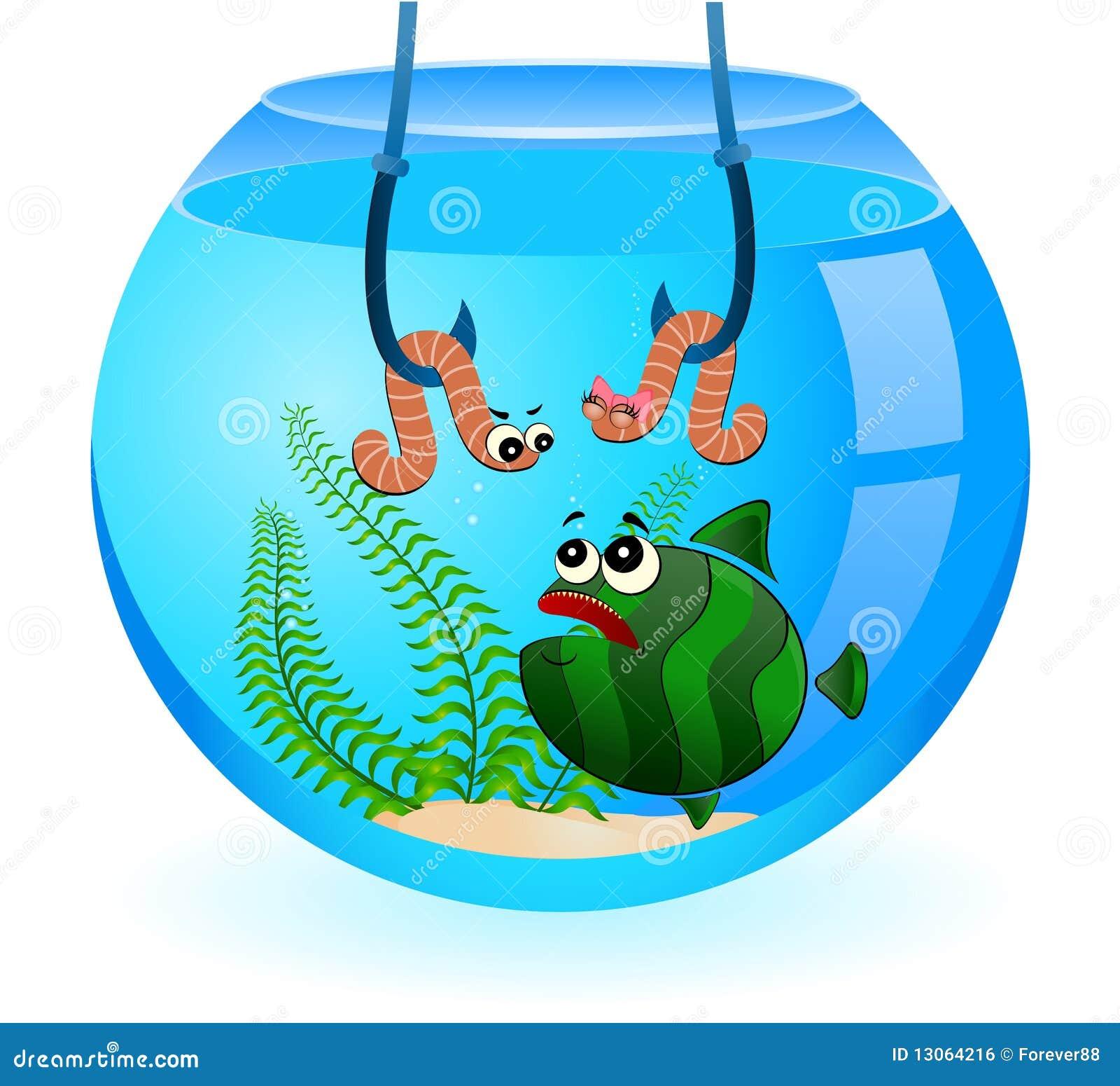 Le poisson dr le de dessin anim mange un ver de terre illustration de vecteur image 13064216 - Dessin de ver de terre ...