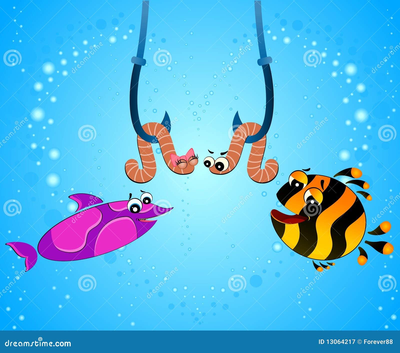 Le poisson dr le de dessin anim mange un ver de terre photographie stock libre de droits - Dessin de ver de terre ...