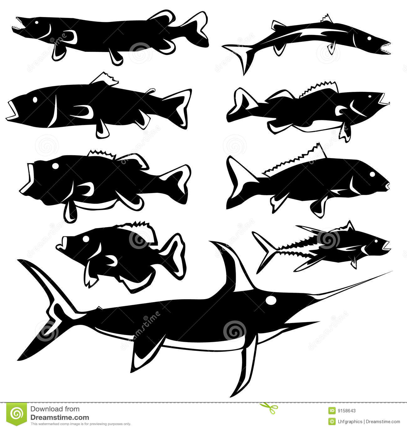 le poisson silhouette le vecteur photos stock image 9158643. Black Bedroom Furniture Sets. Home Design Ideas