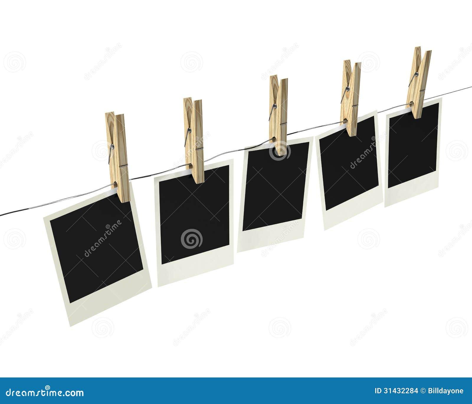 le polaro d imprime sur la corde linge avec des pinces linge images stock image 31432284. Black Bedroom Furniture Sets. Home Design Ideas