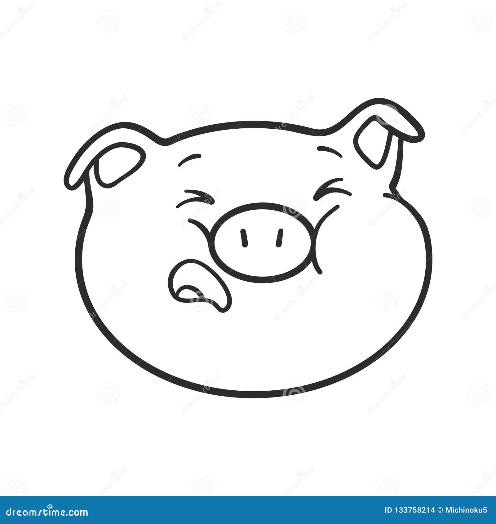 Le Porc D Emoji Pleure Porc D Emoji Pour Livre De Coloriage