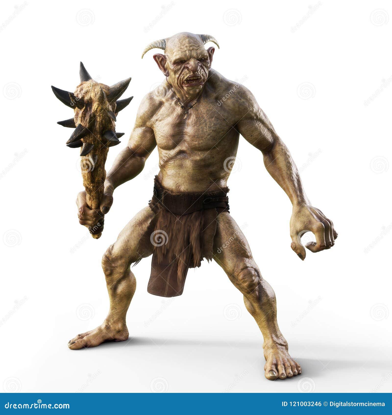 Le portrait d un troll mauvais avec le club pointu, préparent pour la bataille sur un fond blanc d isolement