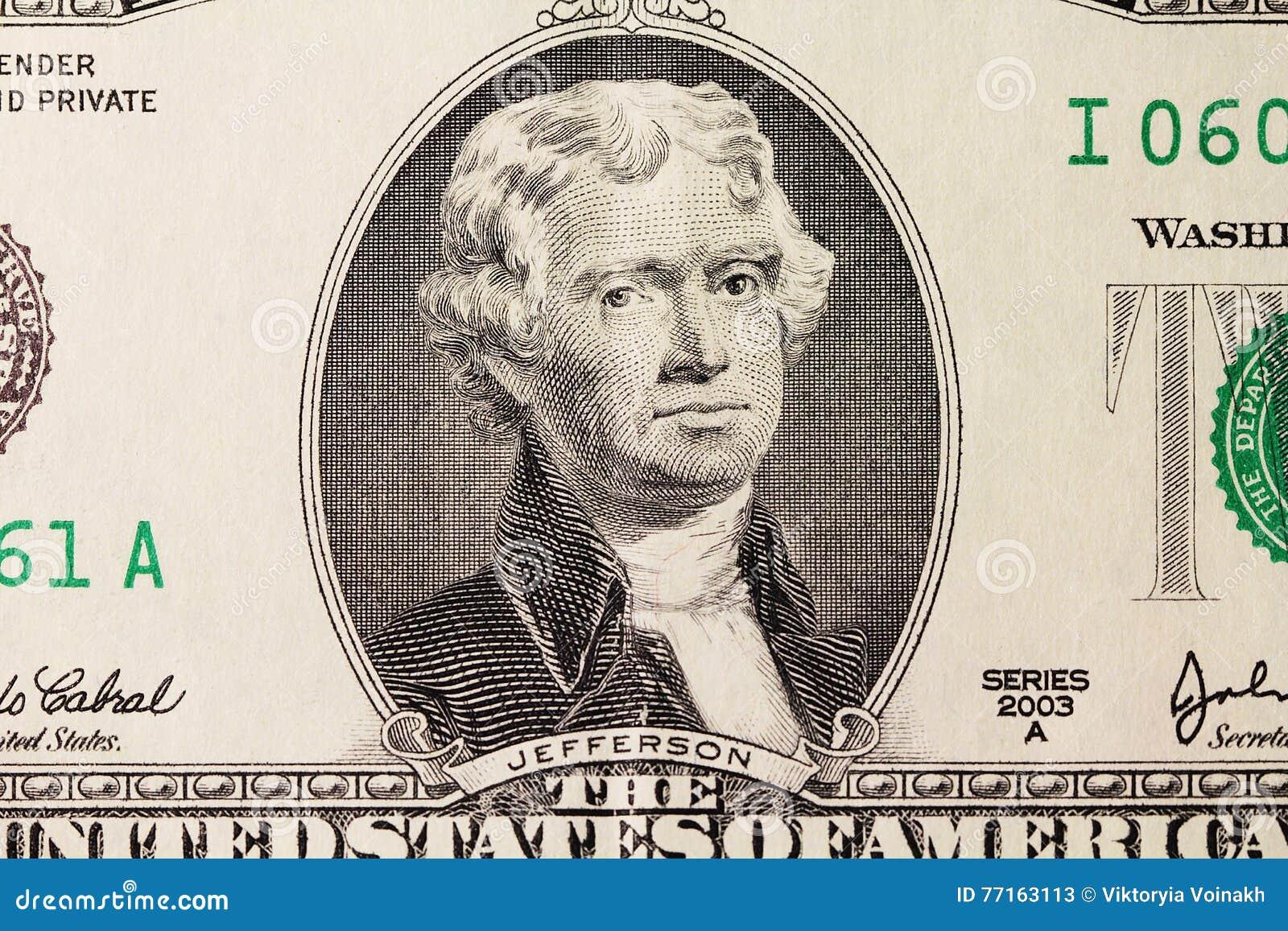 Le portrait de Jefferson sur le dollar