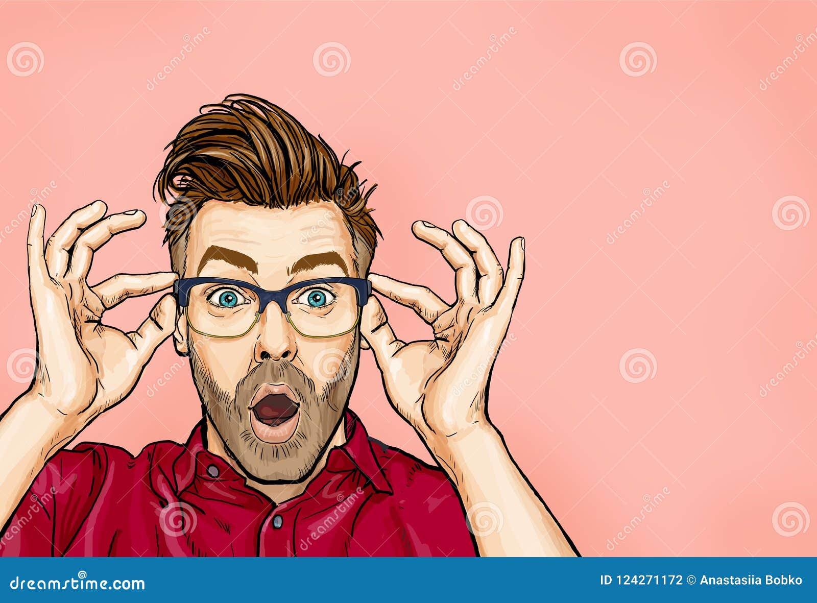 Le portrait de l homme en verres indique wouah avec la bouche ouverte pour voir quelque chose inattendue