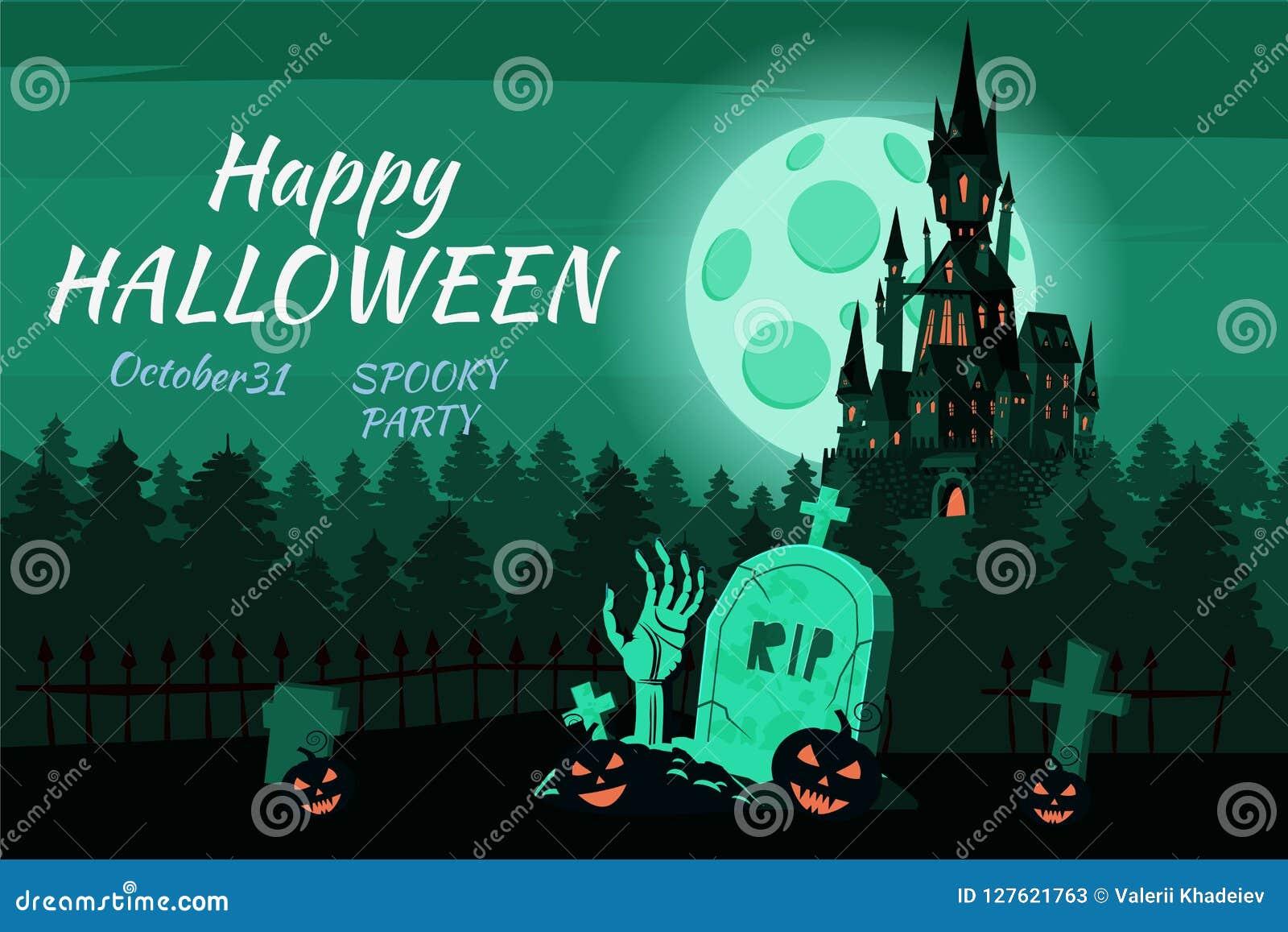 Le potiron heureux de Halloween dans le cimetière, noircissent le château abandonné, forêt sombre d automne, panorama, nuit d obs