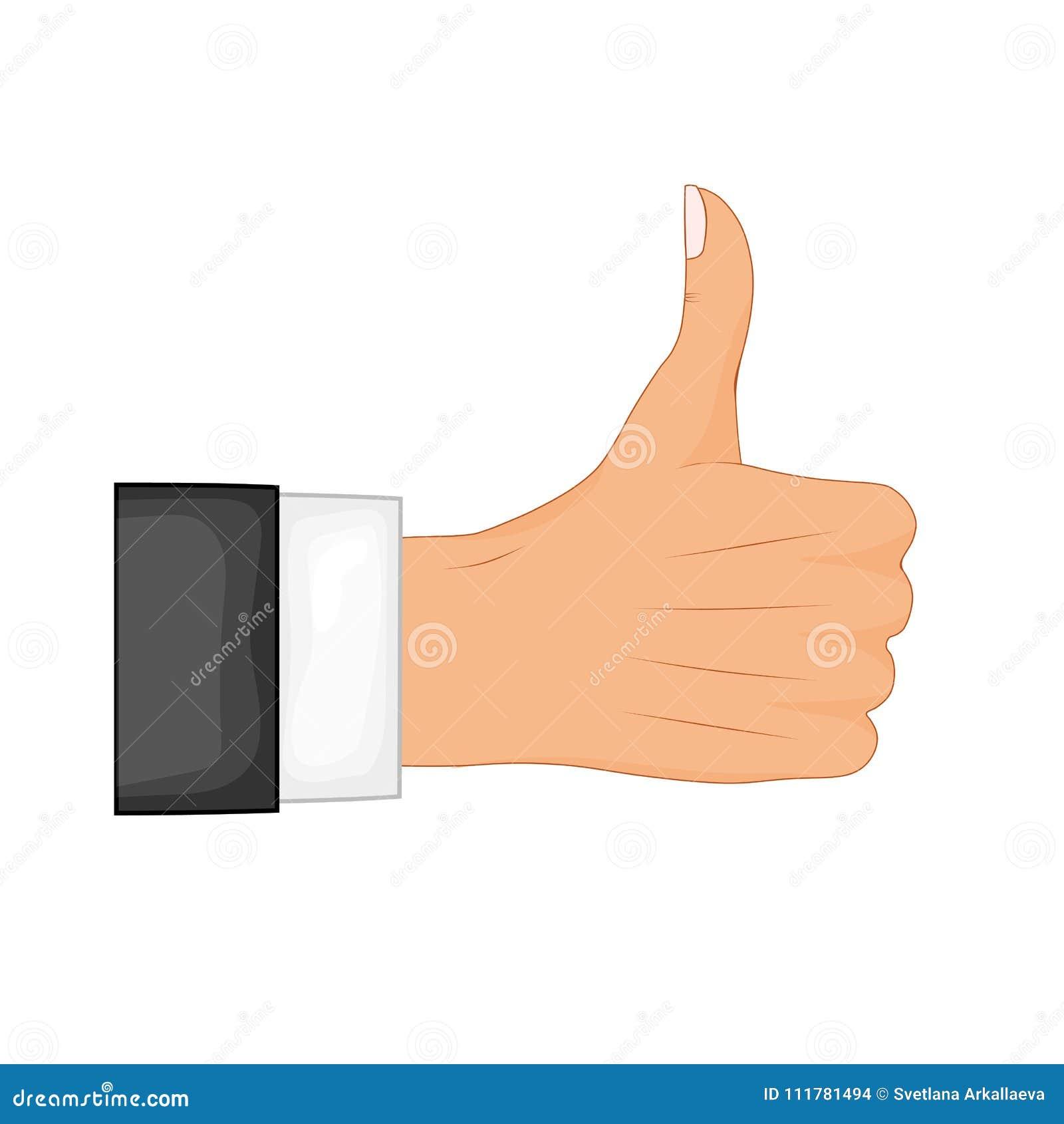 Le pouce de main se connectent un fond blanc Illustration de vecteur Réaction positive, bons gestes, comme Vecteur plat de style