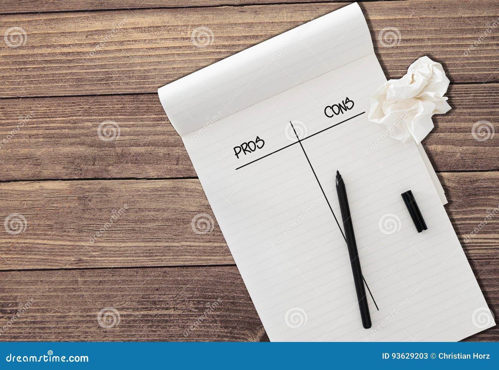 Le pour - et - le contre sur le papier