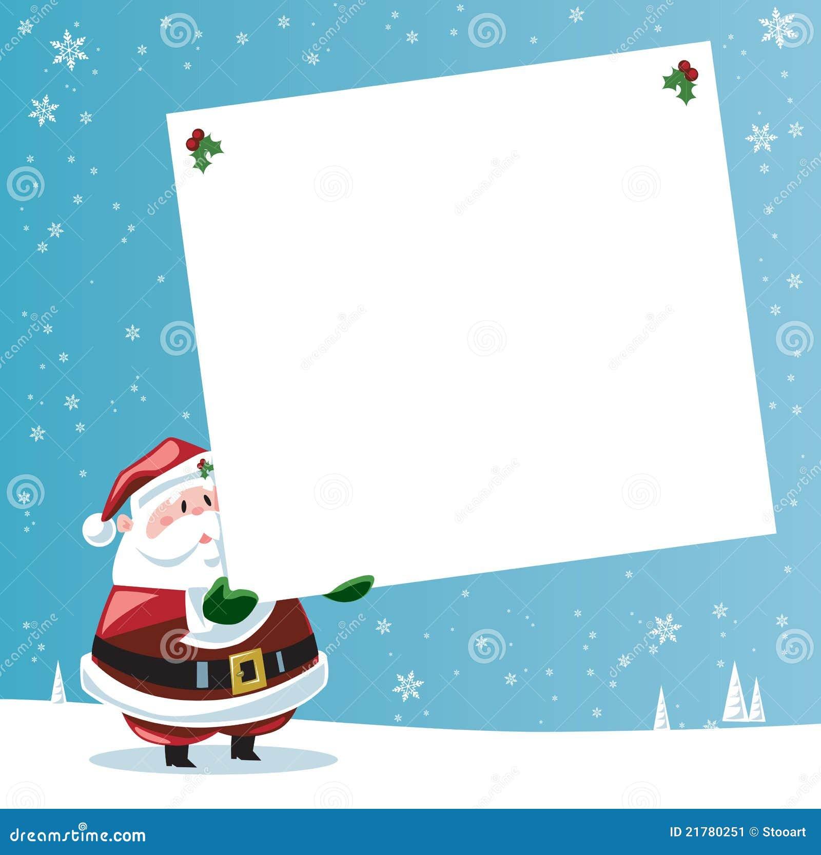 Le père noël retenant la grande étiquette de cadeau dans une scène ...