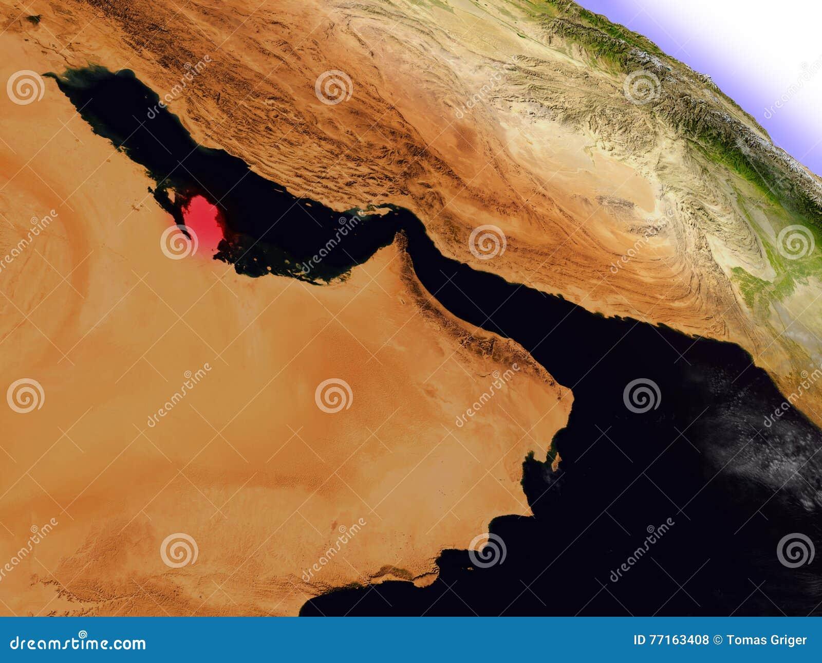 Le Qatar de l espace accentué en rouge