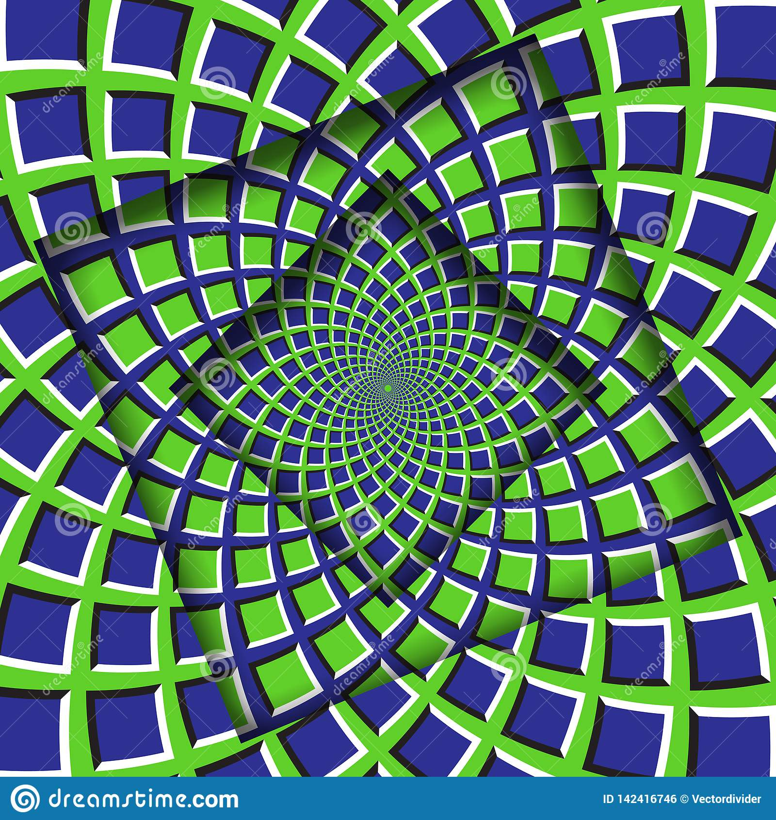 Le résumé a tourné des cadres avec un modèle vert-bleu tournant de places Fond d illusion optique