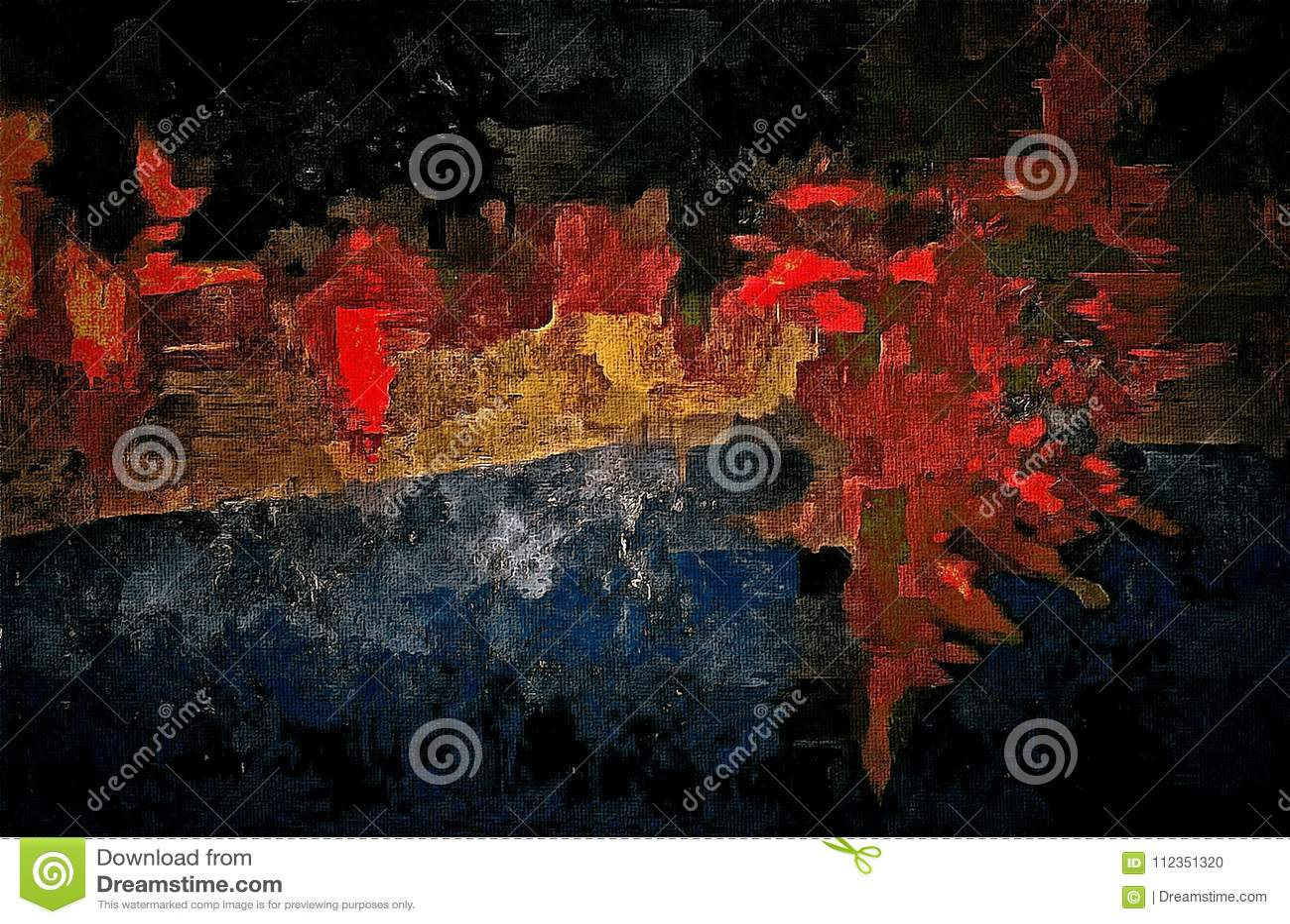 Le rétro fond grunge abstrait avec la texture de la brosse a coloré des courses de peinture et de taches sur la toile texturisée