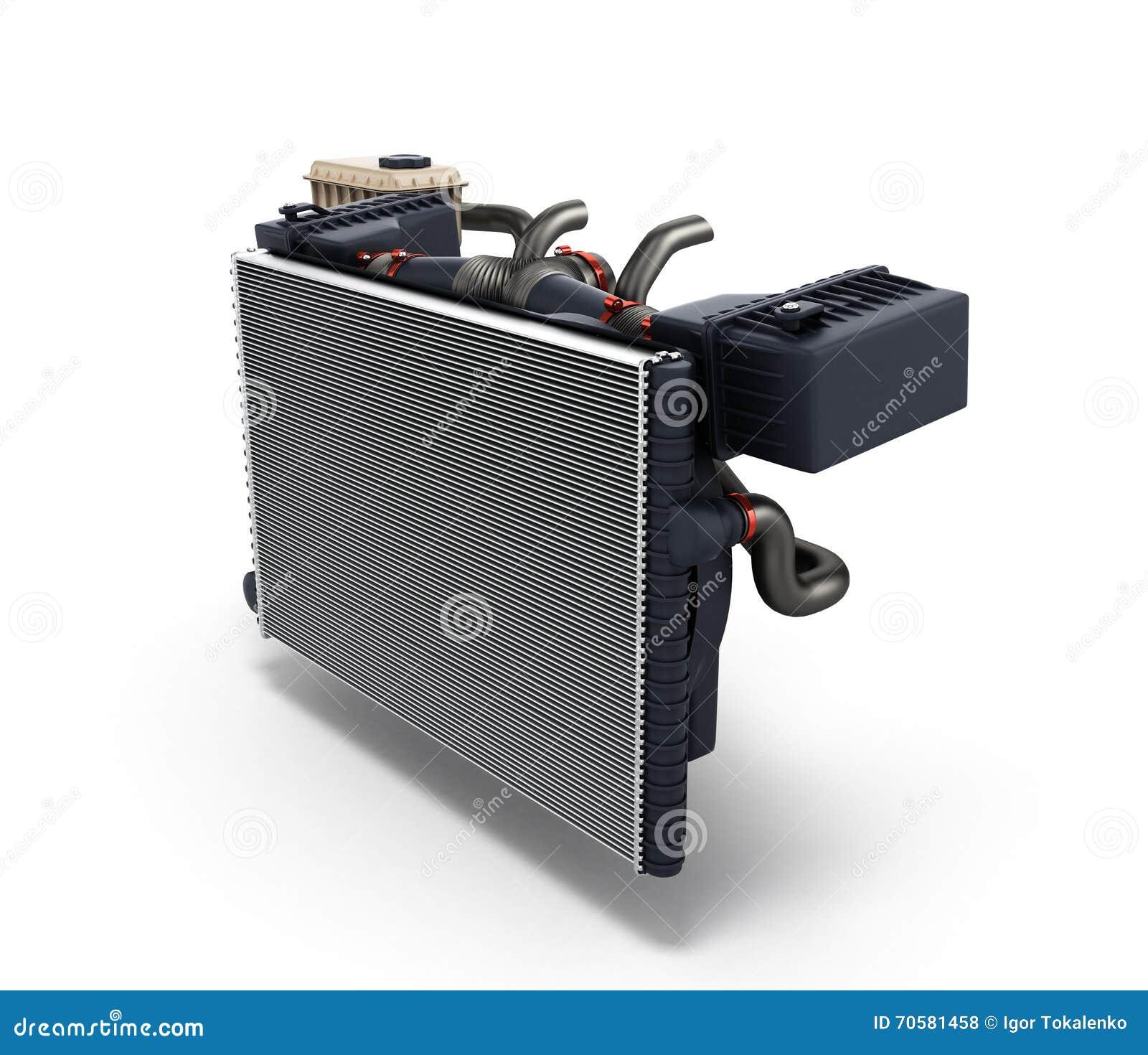 le radiateur de voiture d 39 isolement sur le fond blanc 3d. Black Bedroom Furniture Sets. Home Design Ideas