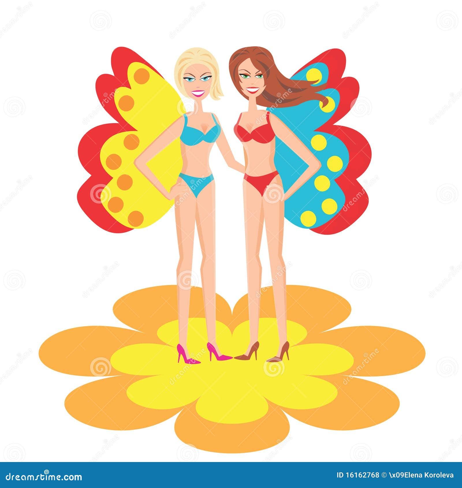 Le ragazze in costume da bagno illustrazione di stock - Le donne in bagno ...