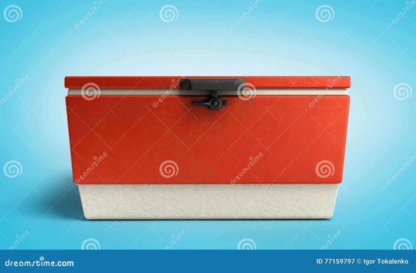 Le refroidisseur 3d rouge de réfrigérateur de plage rendent sur le gradient bleu