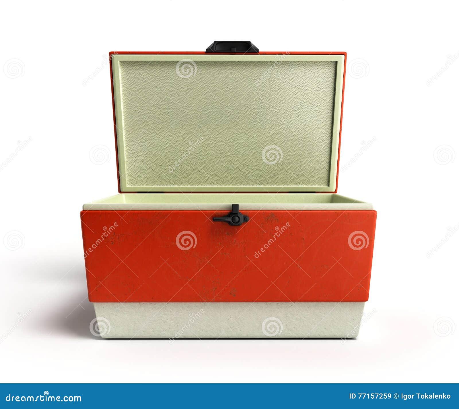 Le refroidisseur ouvert 3d rouge de réfrigérateur de plage rendent
