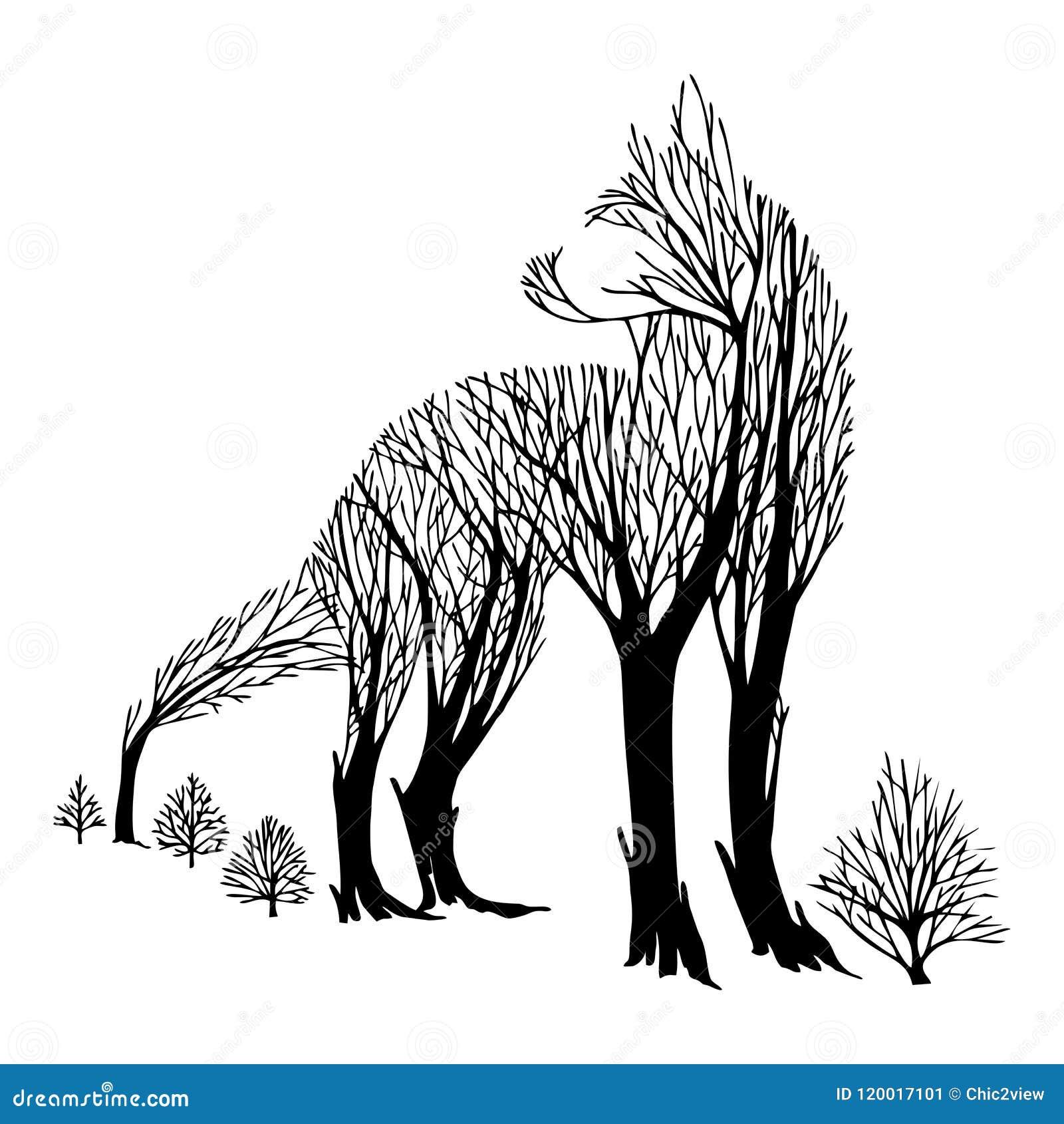 Le regard agressif mystérieux de loup de retour silhouettent le tatouage de dessin d arbre de mélange de double exposition