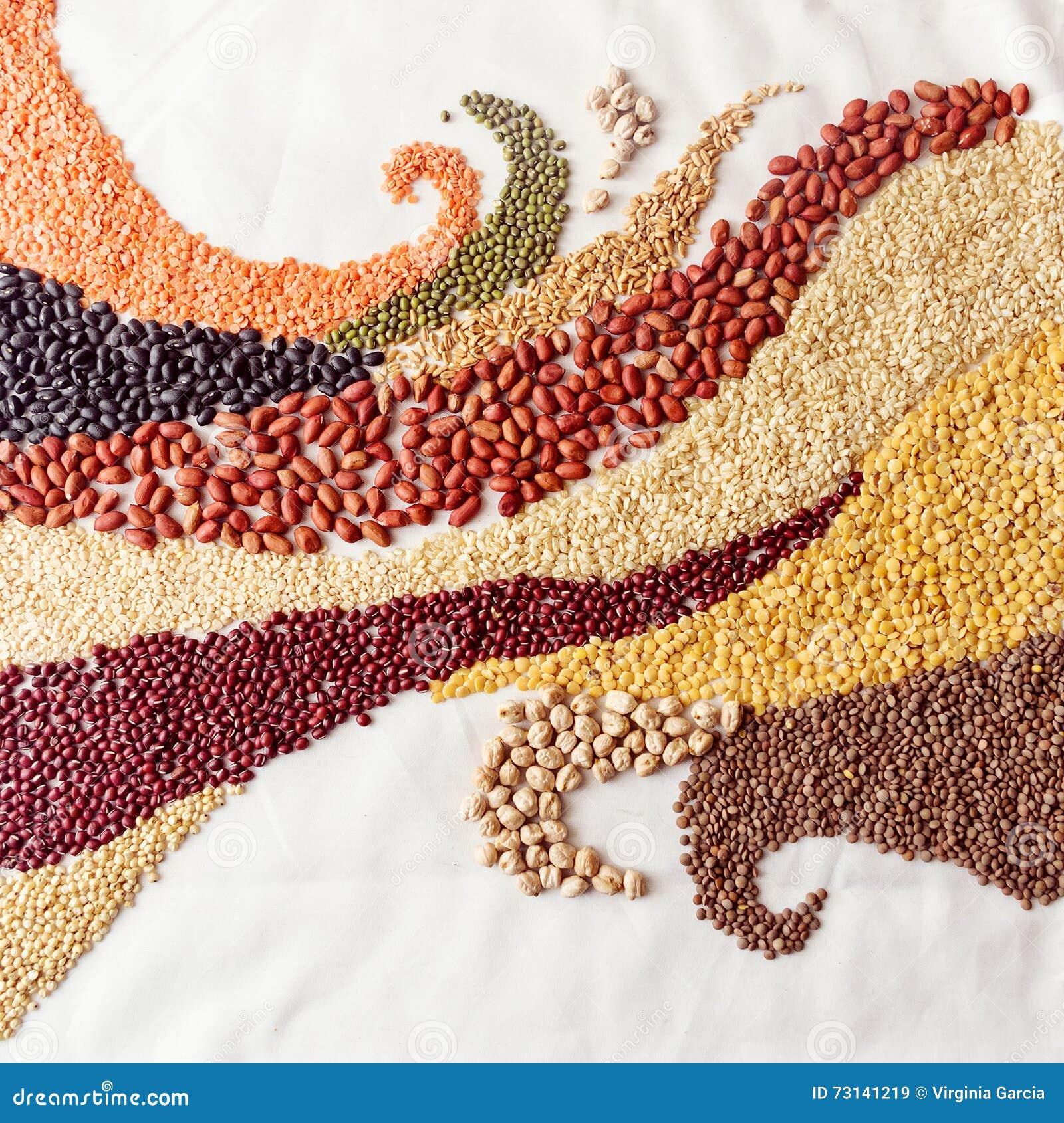 Le remous ondule avec des légumineuses et des céréales