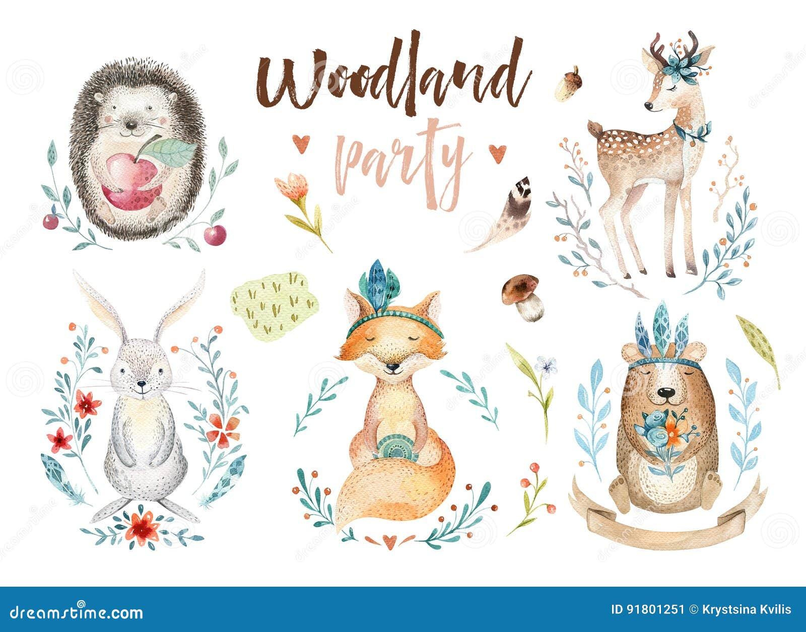 Le renard mignon de bébé, le lapin de crèche de cerfs communs et l ours animaux ont isolé l illustration pour des enfants Boho d