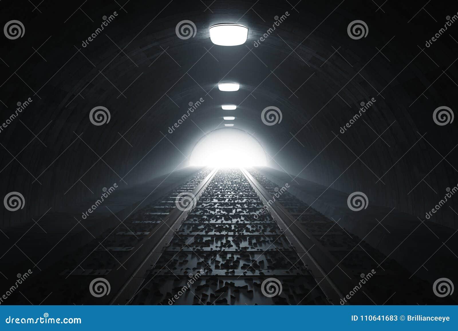 Le rendu 3d de obscurcissent le tunnel de train avec la lumière à l extrémité