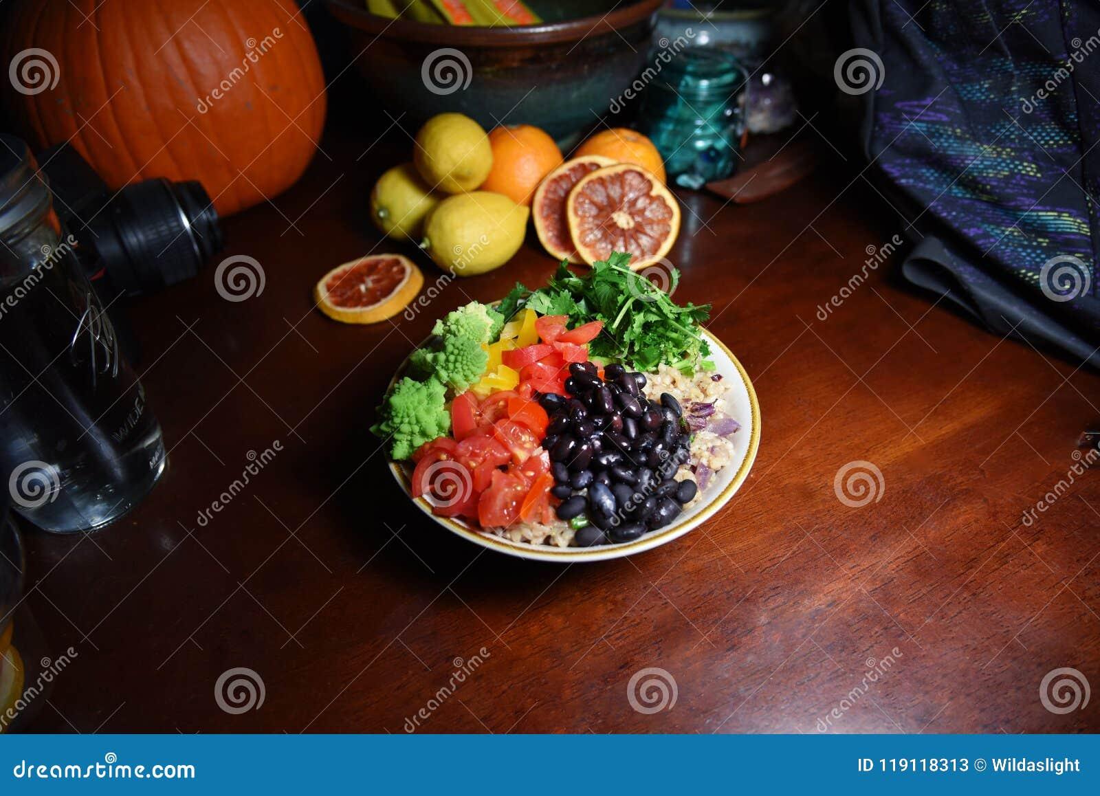 Le riz brun et les veggies sont sains