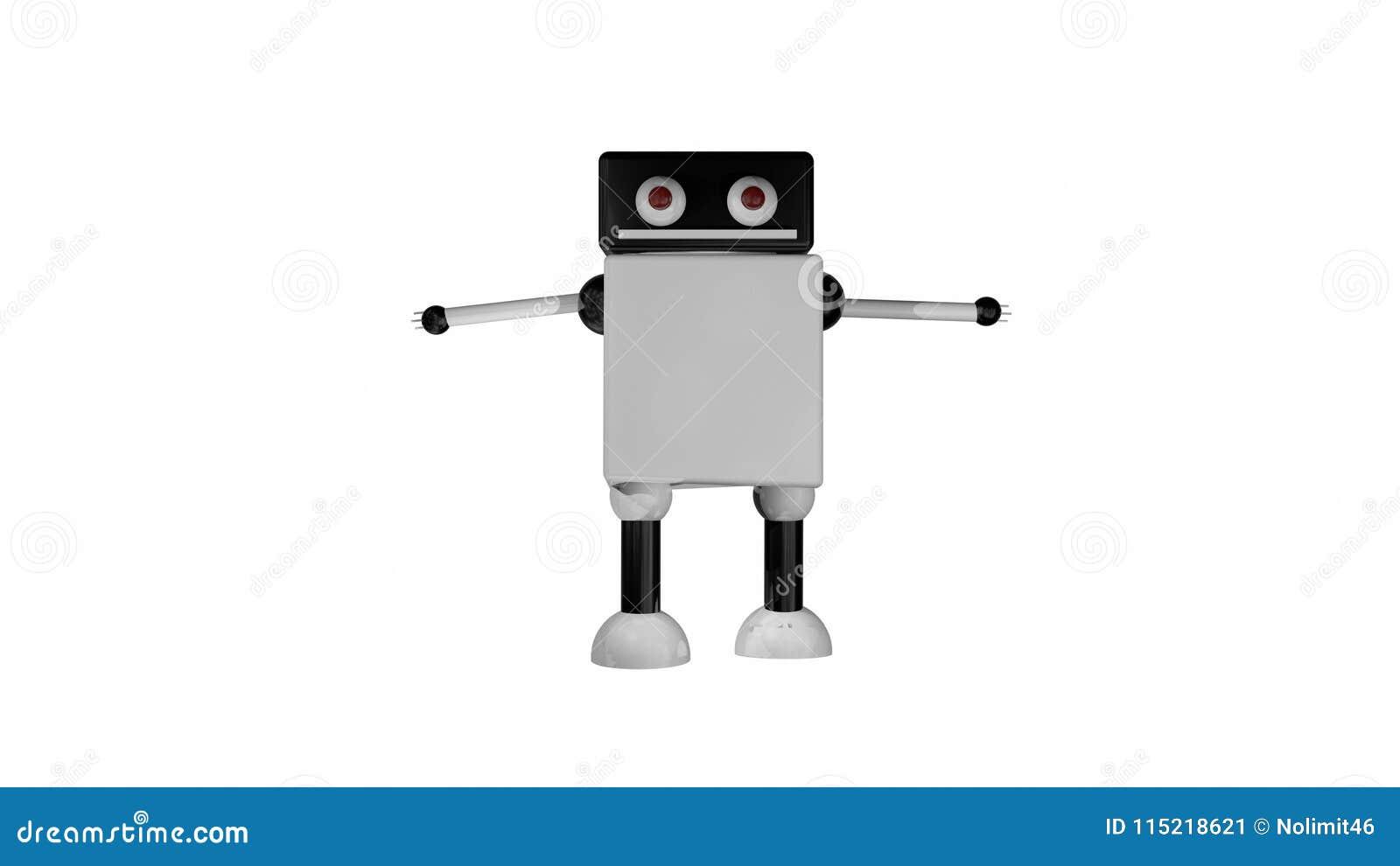 Le robot allant drôle avec de grands yeux dans l espace noir, 3d rendent le fond, se produire d ordinateur