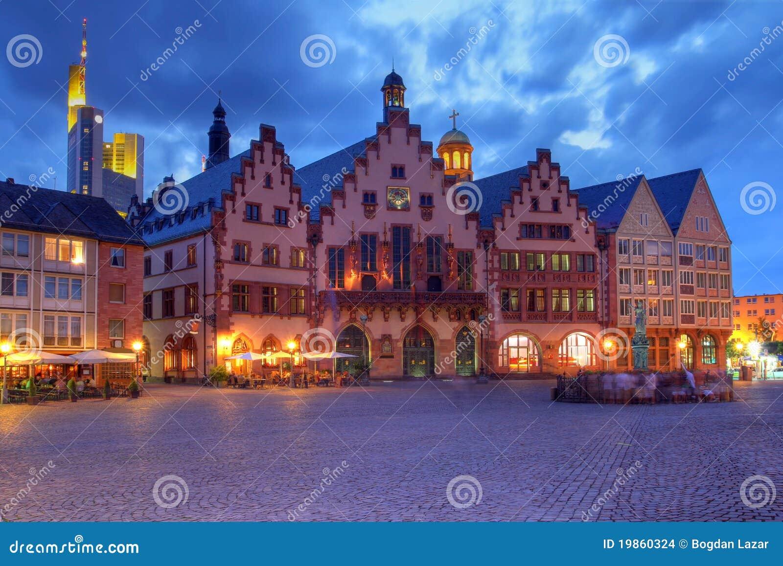 Le Romer la nuit, Francfort, Allemagne
