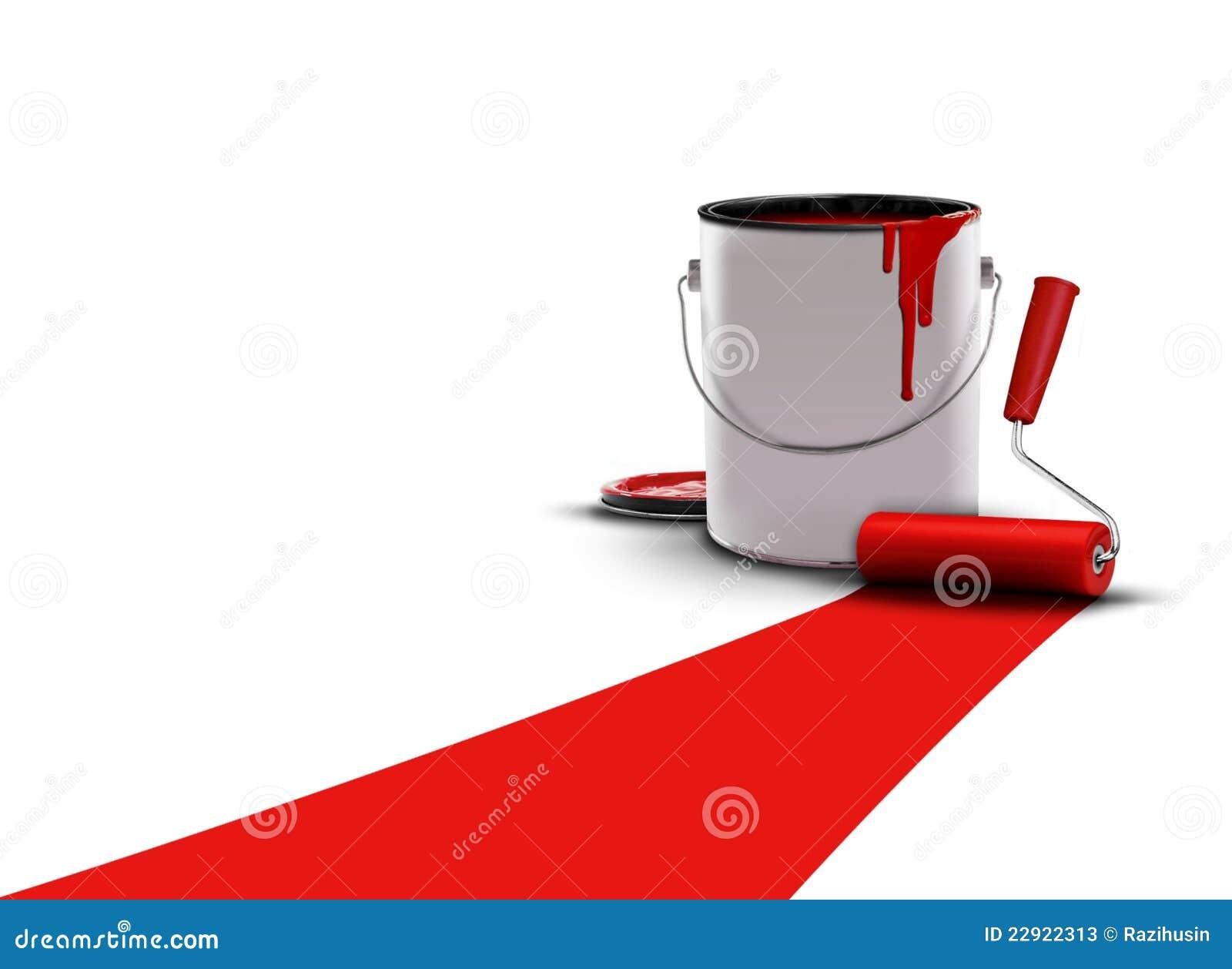 le rouge peint avec la peinture peut et rouleau photos stock image 22922313. Black Bedroom Furniture Sets. Home Design Ideas
