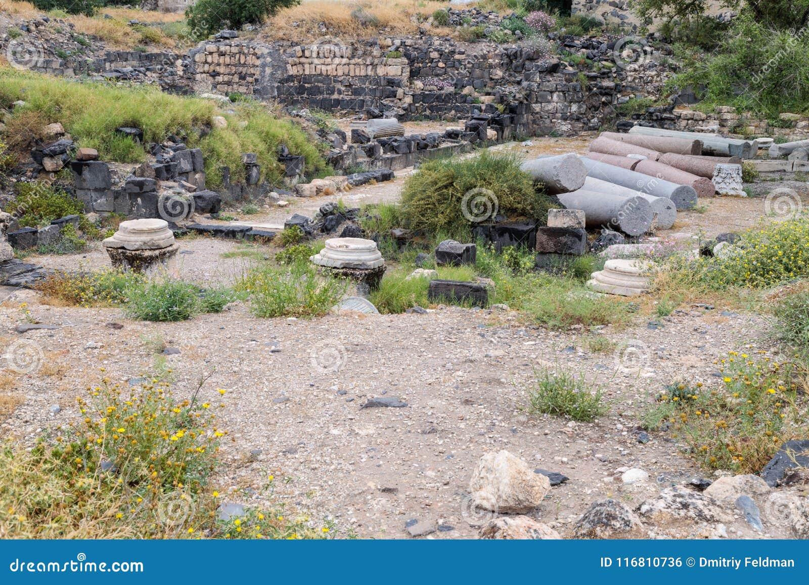 Le rovine del Greco - città romana dello III secolo BC - l ANNUNCIO del VIII secolo Hippus - Susita su Golan Heights vicino al ma
