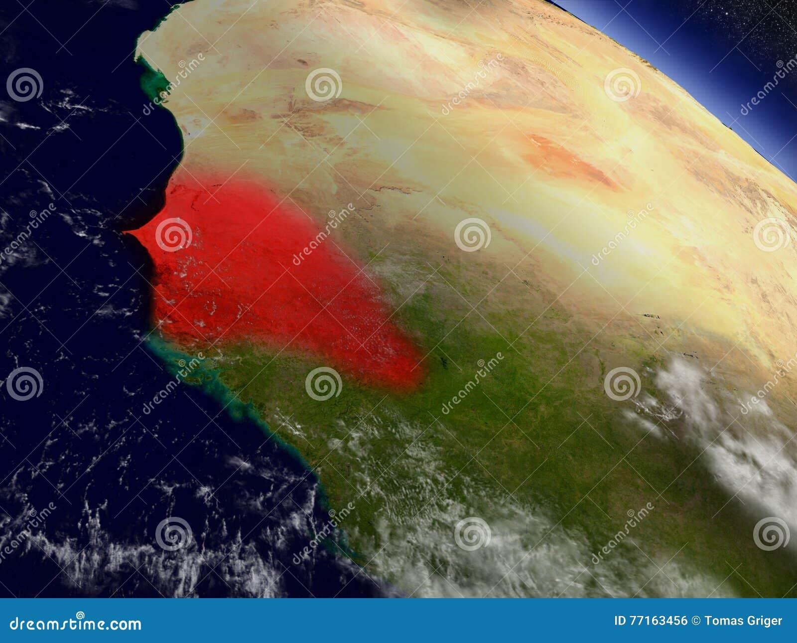 Le Sénégal de l espace accentué en rouge