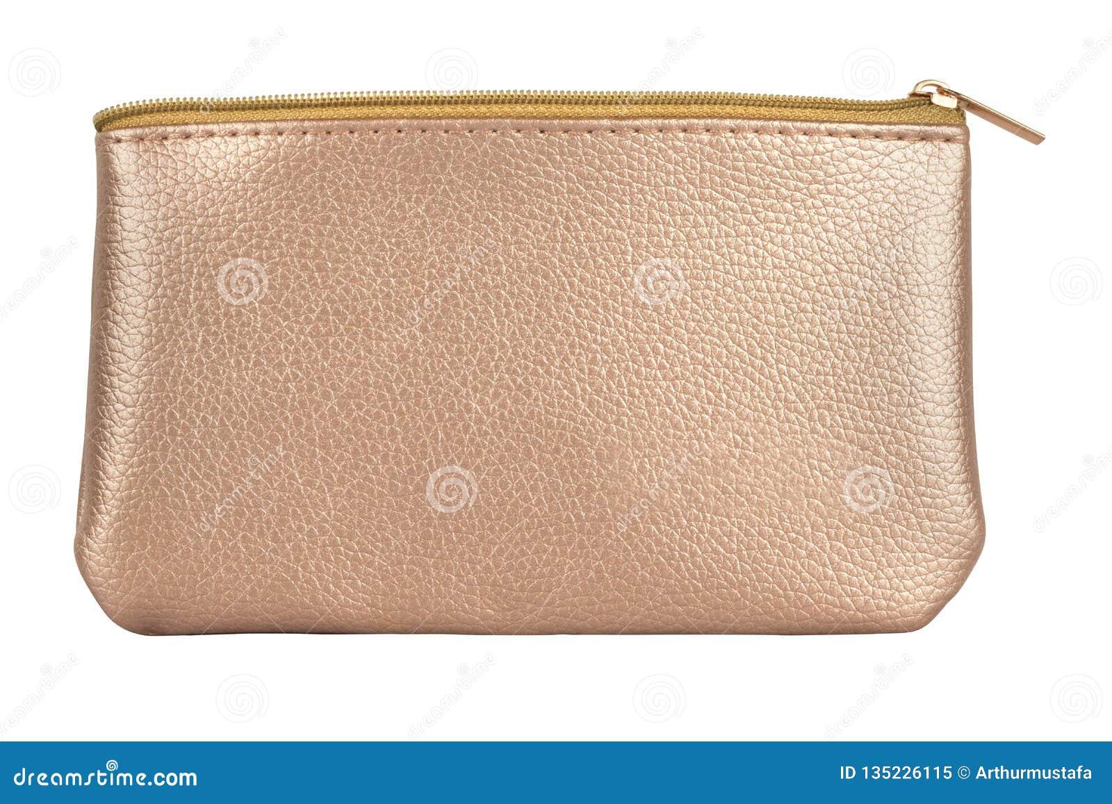 Le sac cosmétique de luxe d or de voyage, produits de beauté d isolement sur le fond blanc, chemins de coupure a inclus