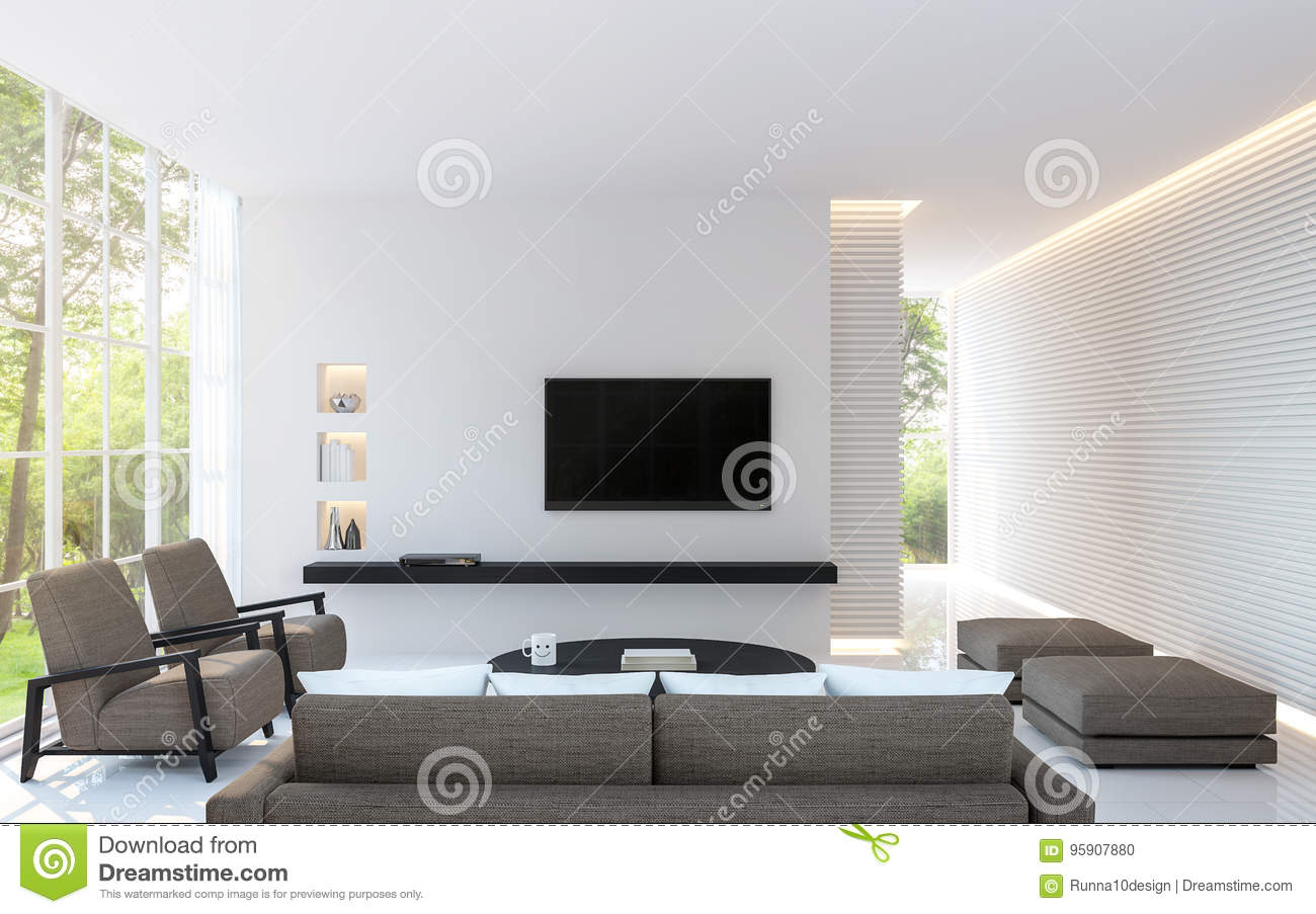 le salon blanc moderne d corent le mur avec la ligne mod le et image chaude cach e de rendu de. Black Bedroom Furniture Sets. Home Design Ideas