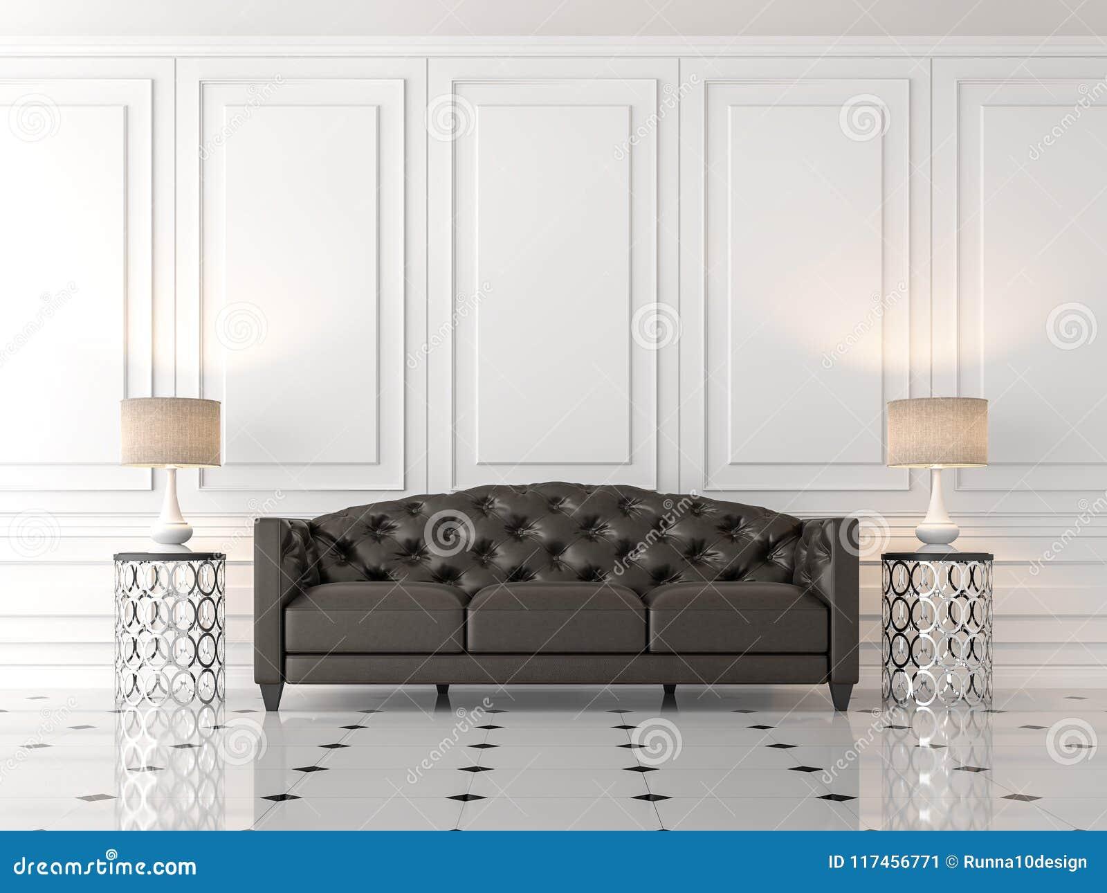Le Salon Classique Moderne 3d Rendent, Là Sont Mur Blanc Vide, Meublé Avec  Le Sofa En Cuir Noir