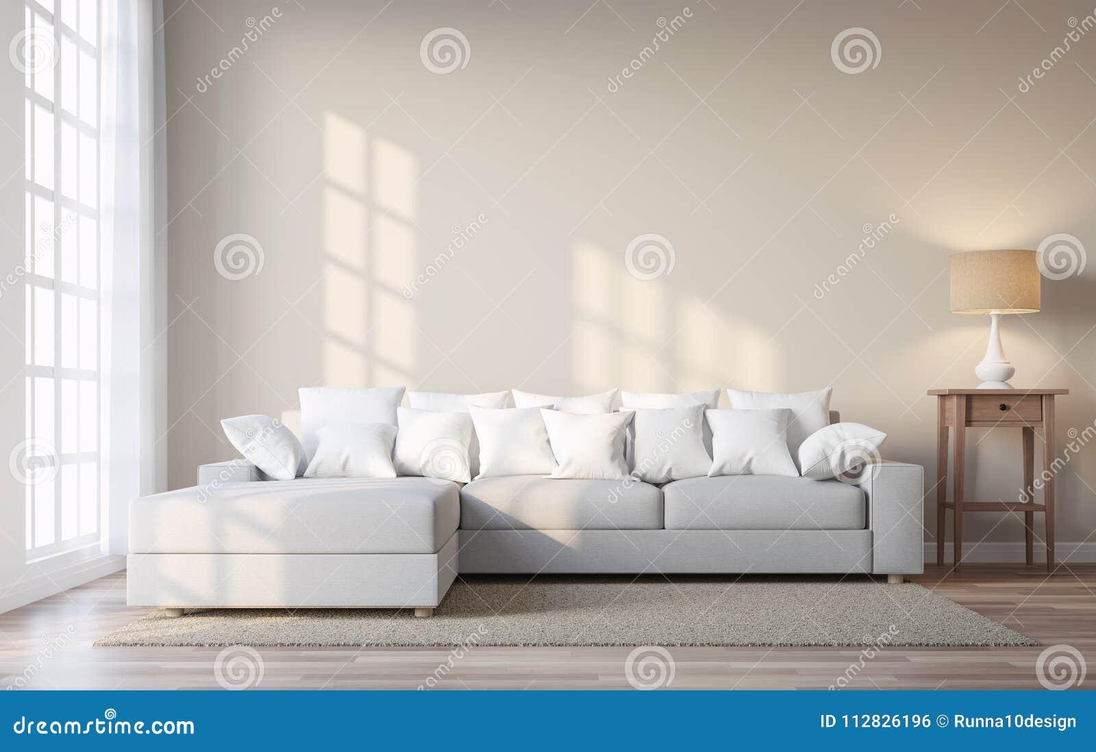 Le salon de style de vintage avec le mur beige 3d de Salon beige et brun