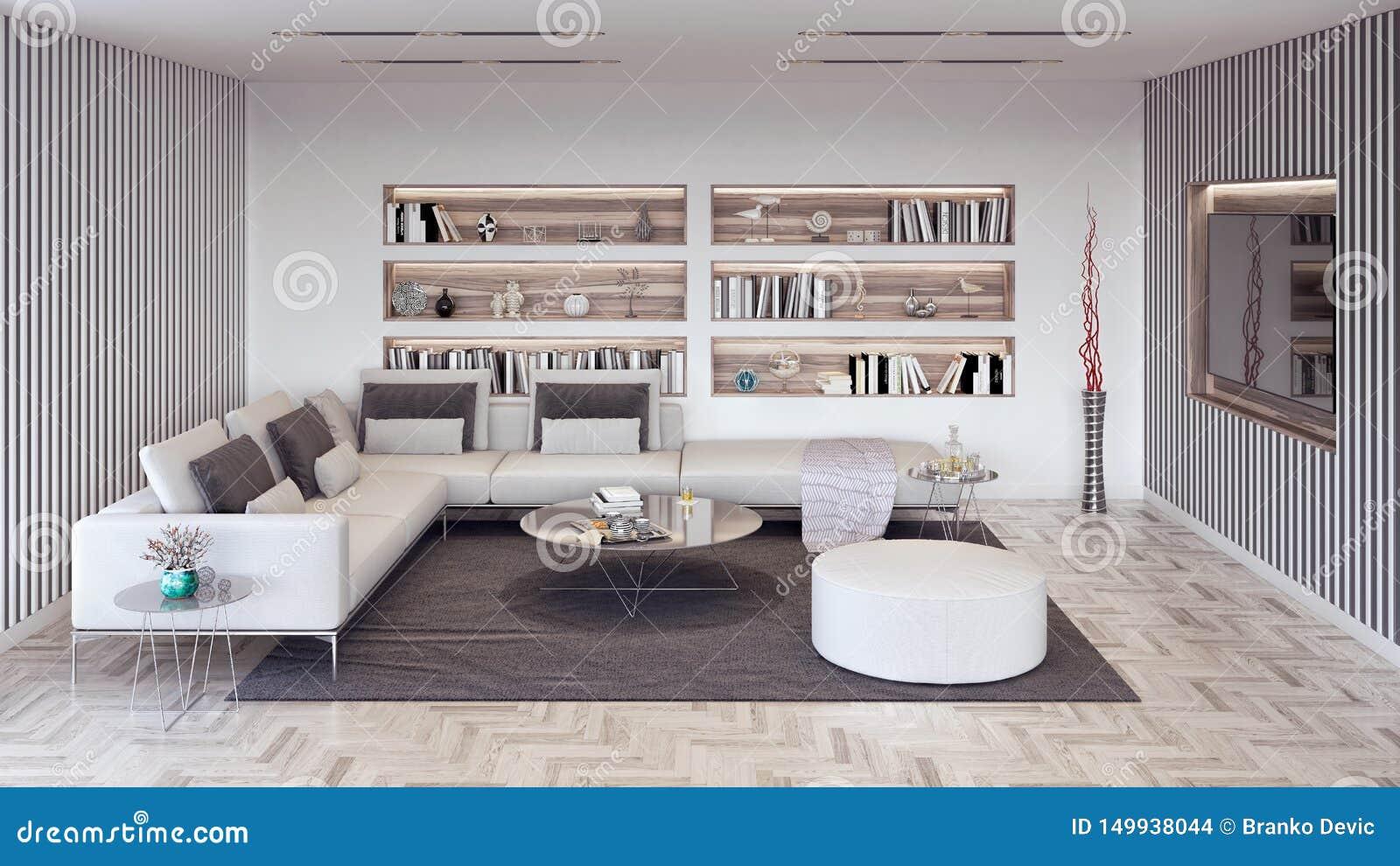 Le Salon Moderne Avec Les éléments Blancs Et Gris, La ...